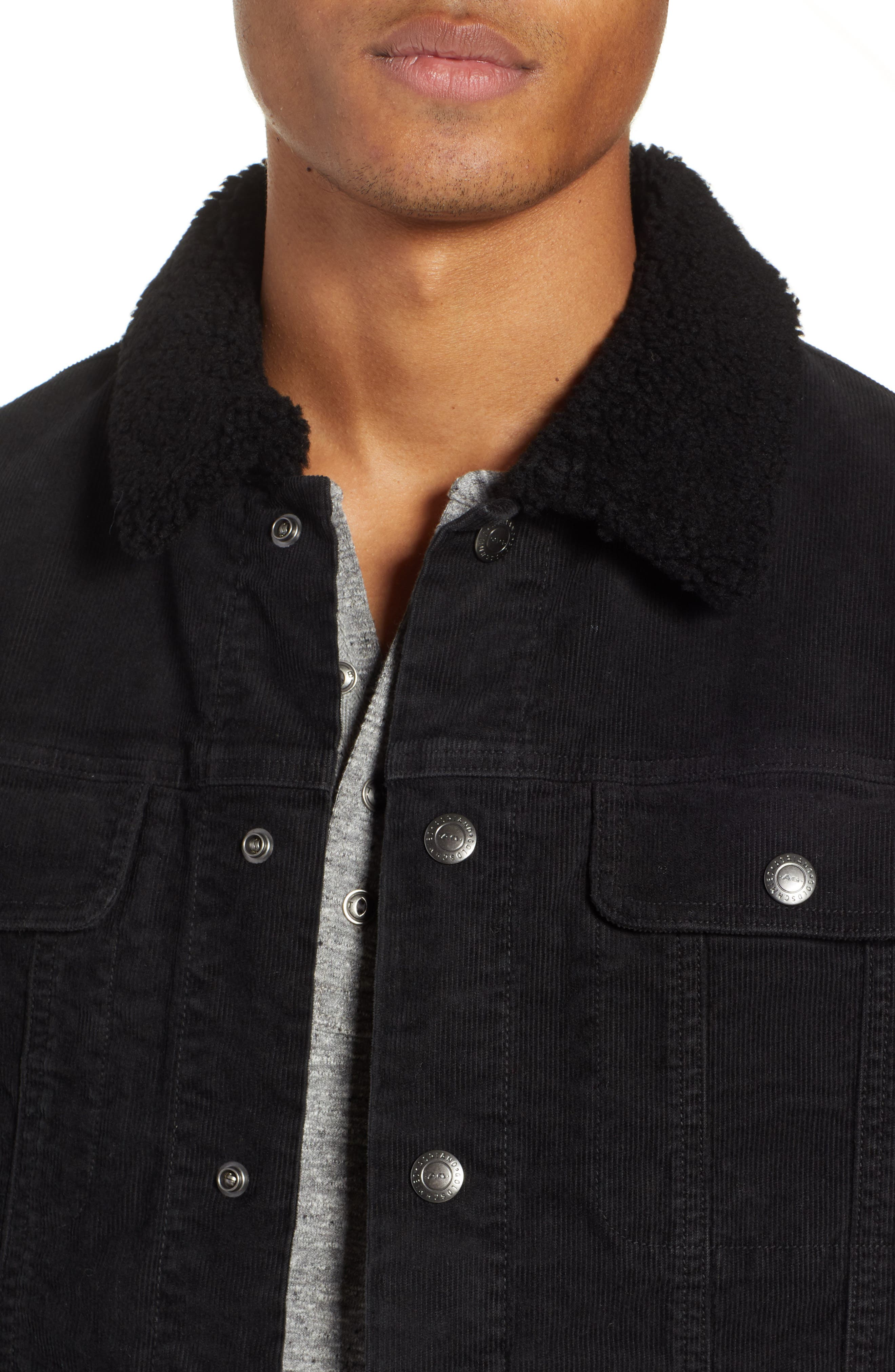 The Dart Corduroy Jacket with Genuine Shearling Collar,                             Alternate thumbnail 4, color,                             SULFUR BLACK