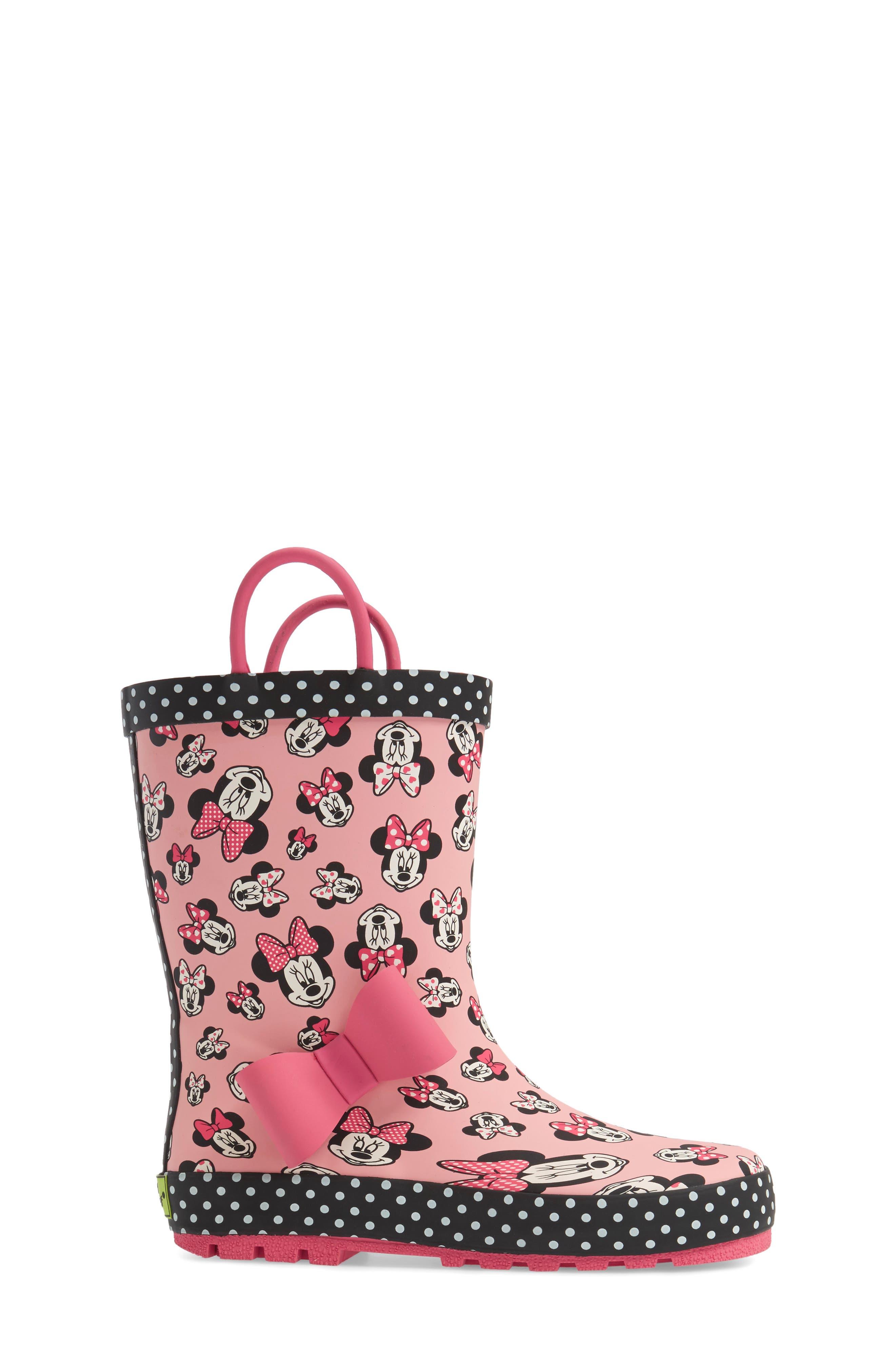Disney<sup>®</sup> Minnie Mouse Waterproof Rain Boot,                             Alternate thumbnail 3, color,                             680