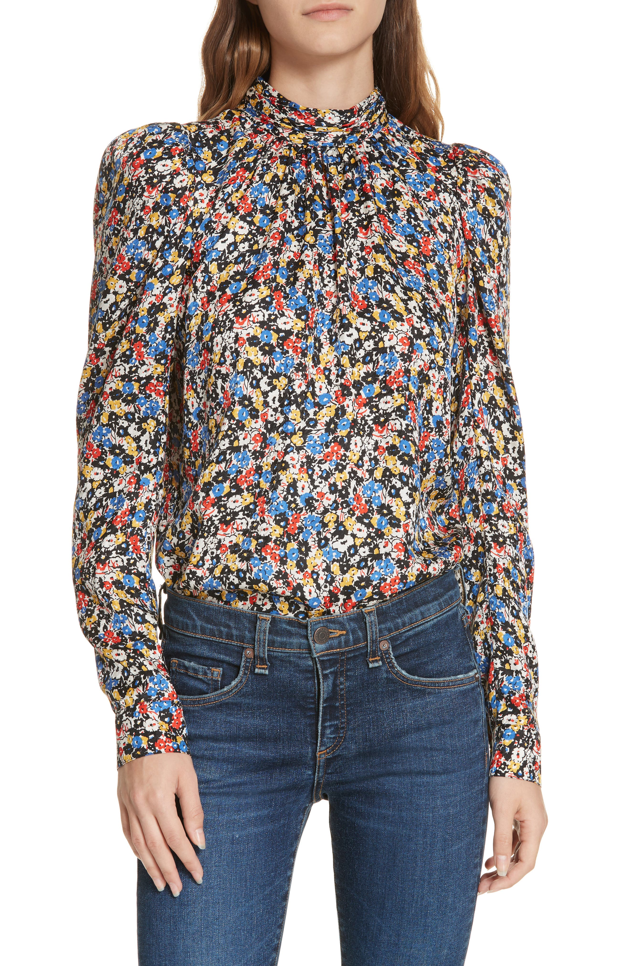 Mena Floral Stretch Silk Top,                         Main,                         color, BLACK MULTI