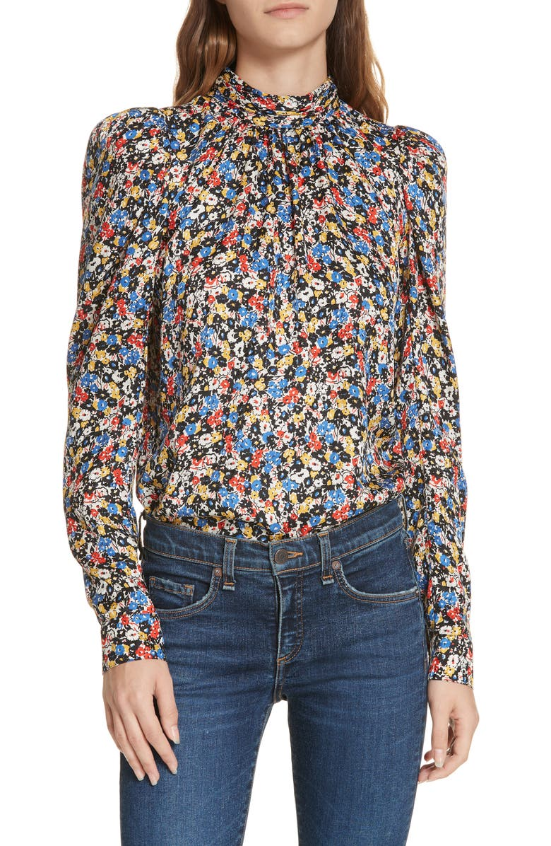 Mena Floral Stretch Silk Top, Main, color, BLACK MULTI