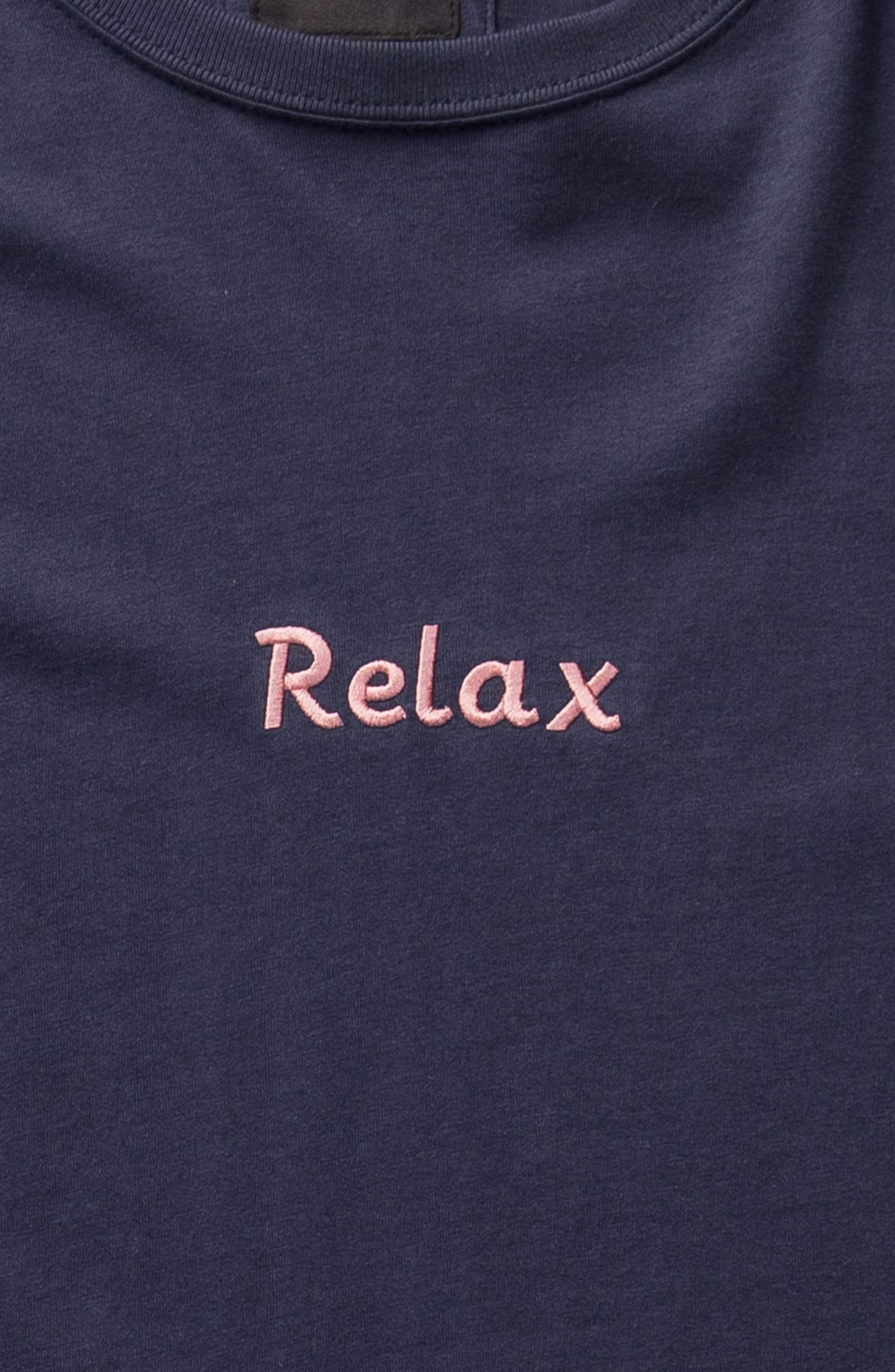 Relax Embroidered Long Sleeve T-Shirt,                             Alternate thumbnail 5, color,                             415