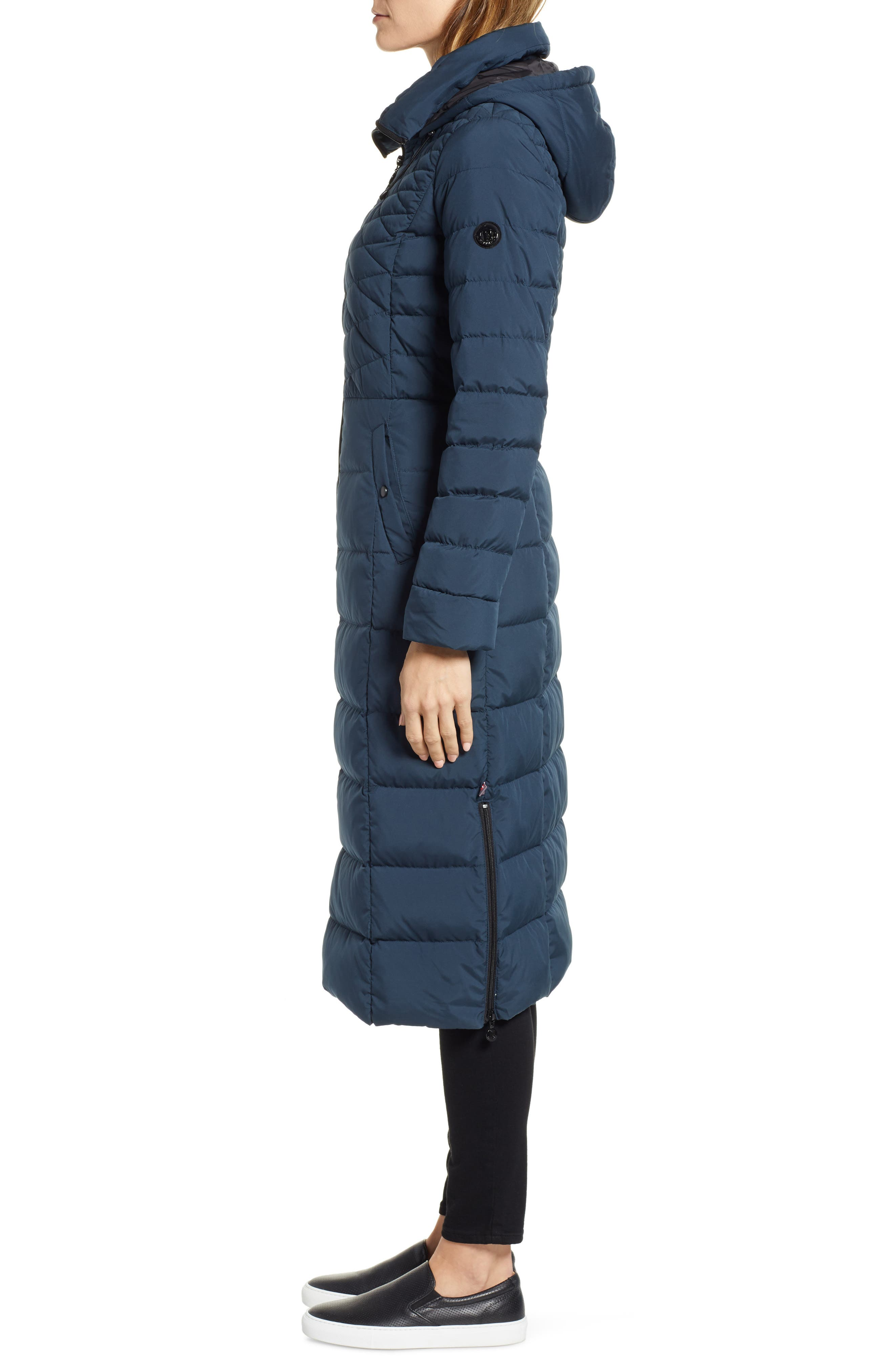Quilted Long Coat with Down & PrimaLoft<sup>®</sup> Fill,                             Alternate thumbnail 3, color,                             DEEP WATER