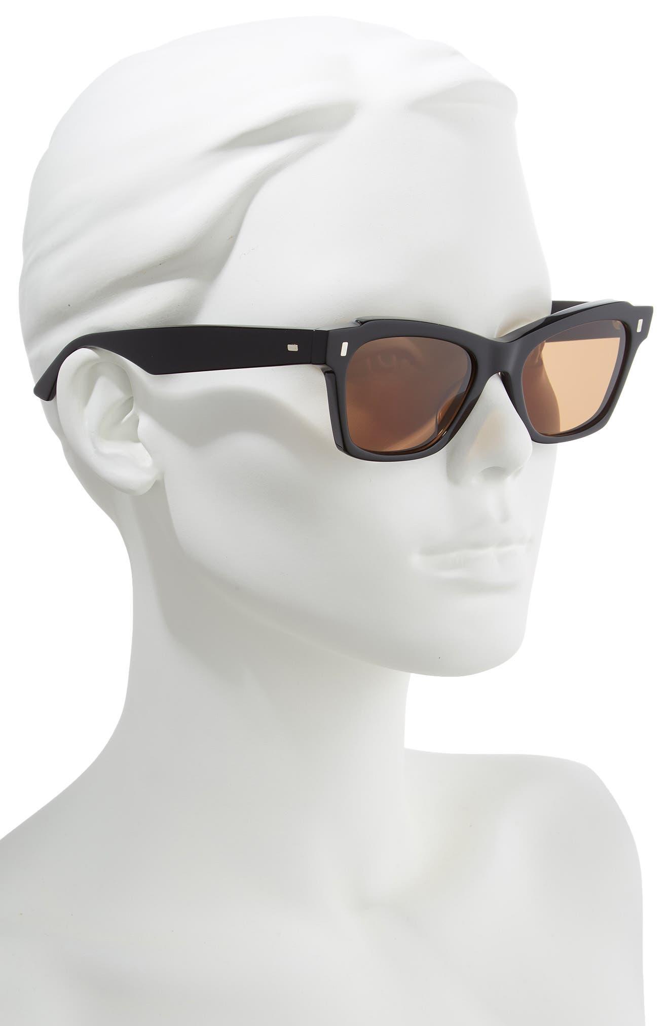 52mm Rectangle Cat Eye Sunglasses,                             Alternate thumbnail 2, color,                             BLACK