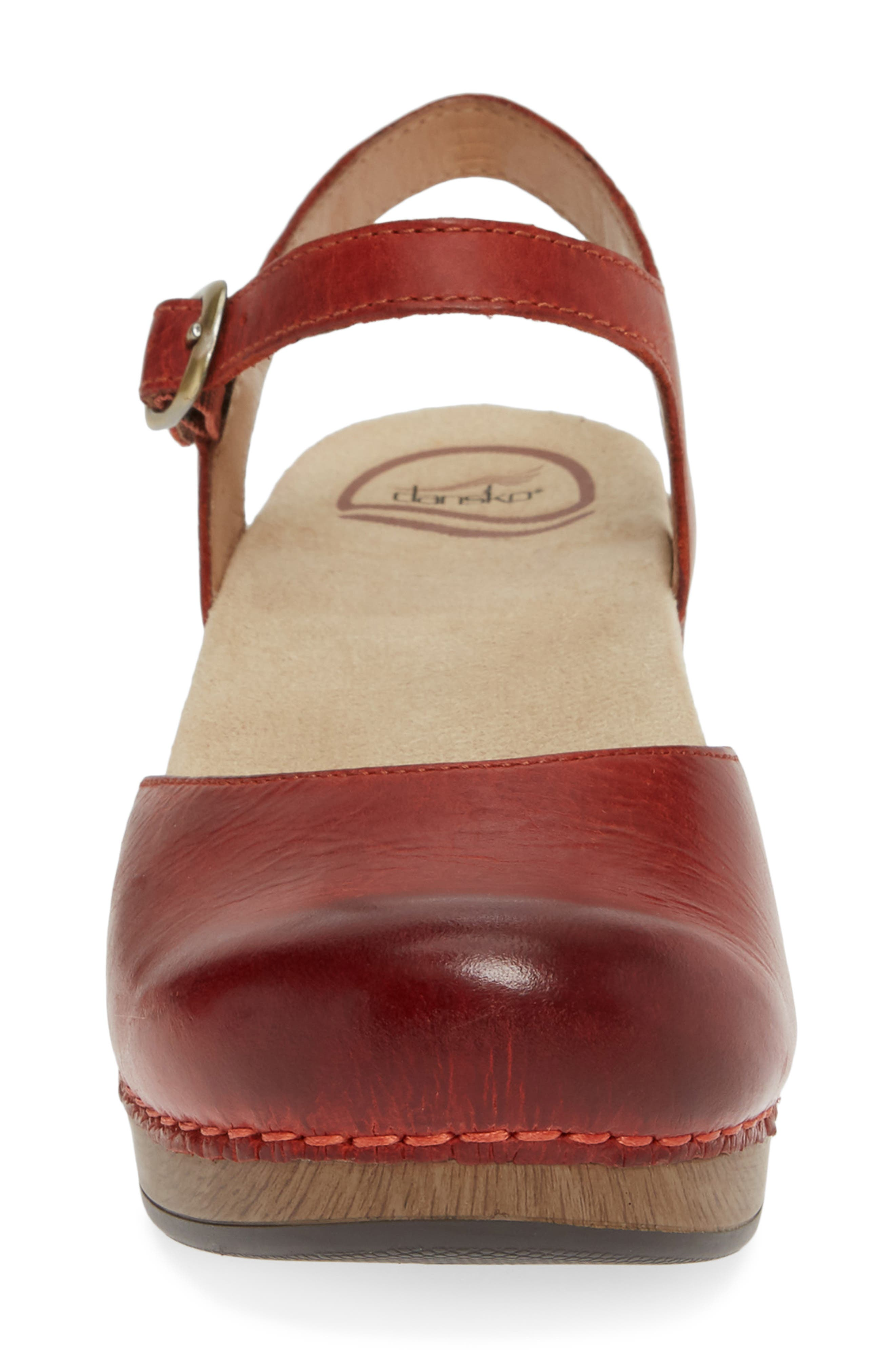 'Sam' Clog,                             Alternate thumbnail 4, color,                             CORAL LEATHER