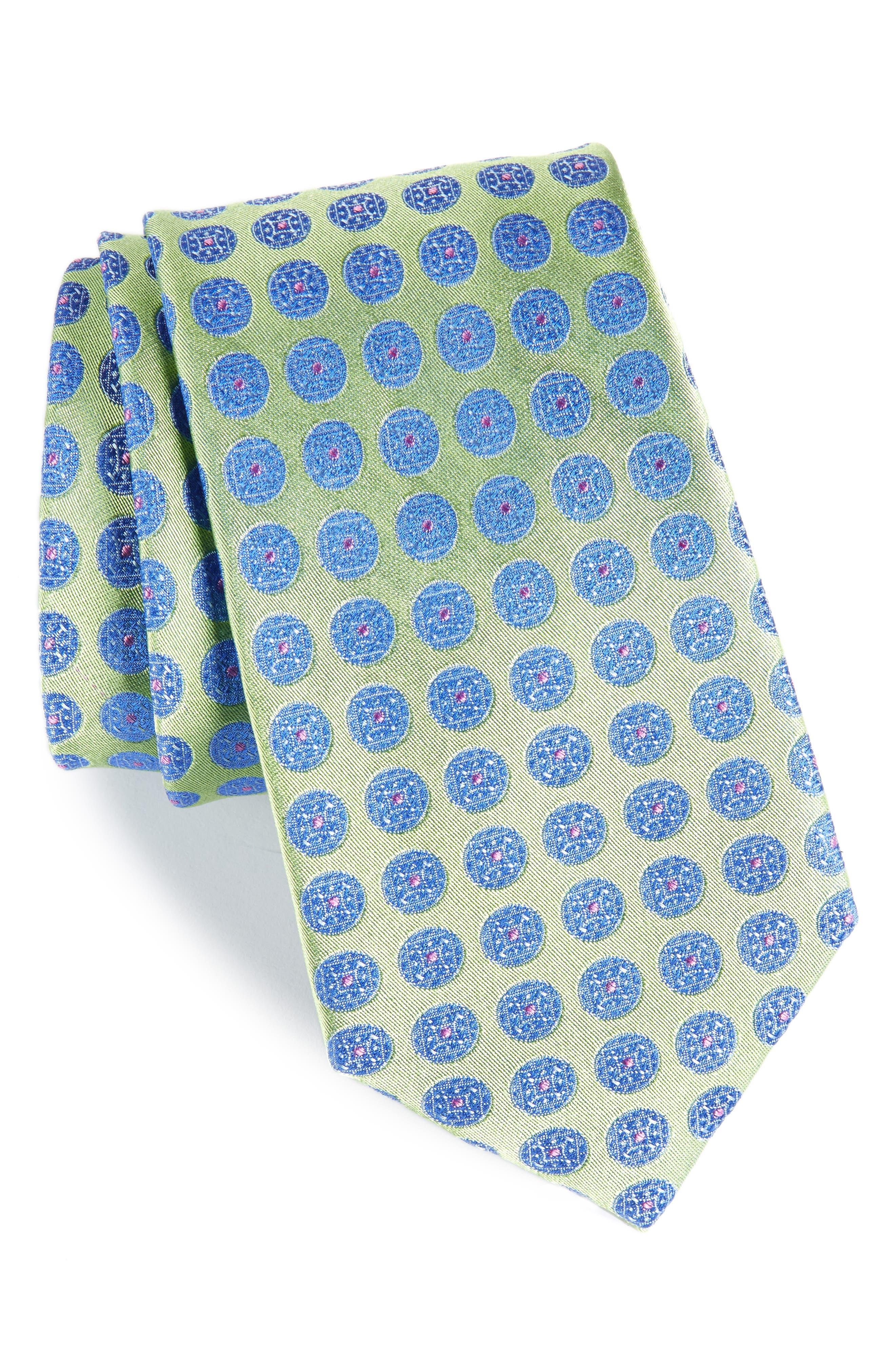 Carlos Medallion Silk Tie,                             Main thumbnail 1, color,                             333