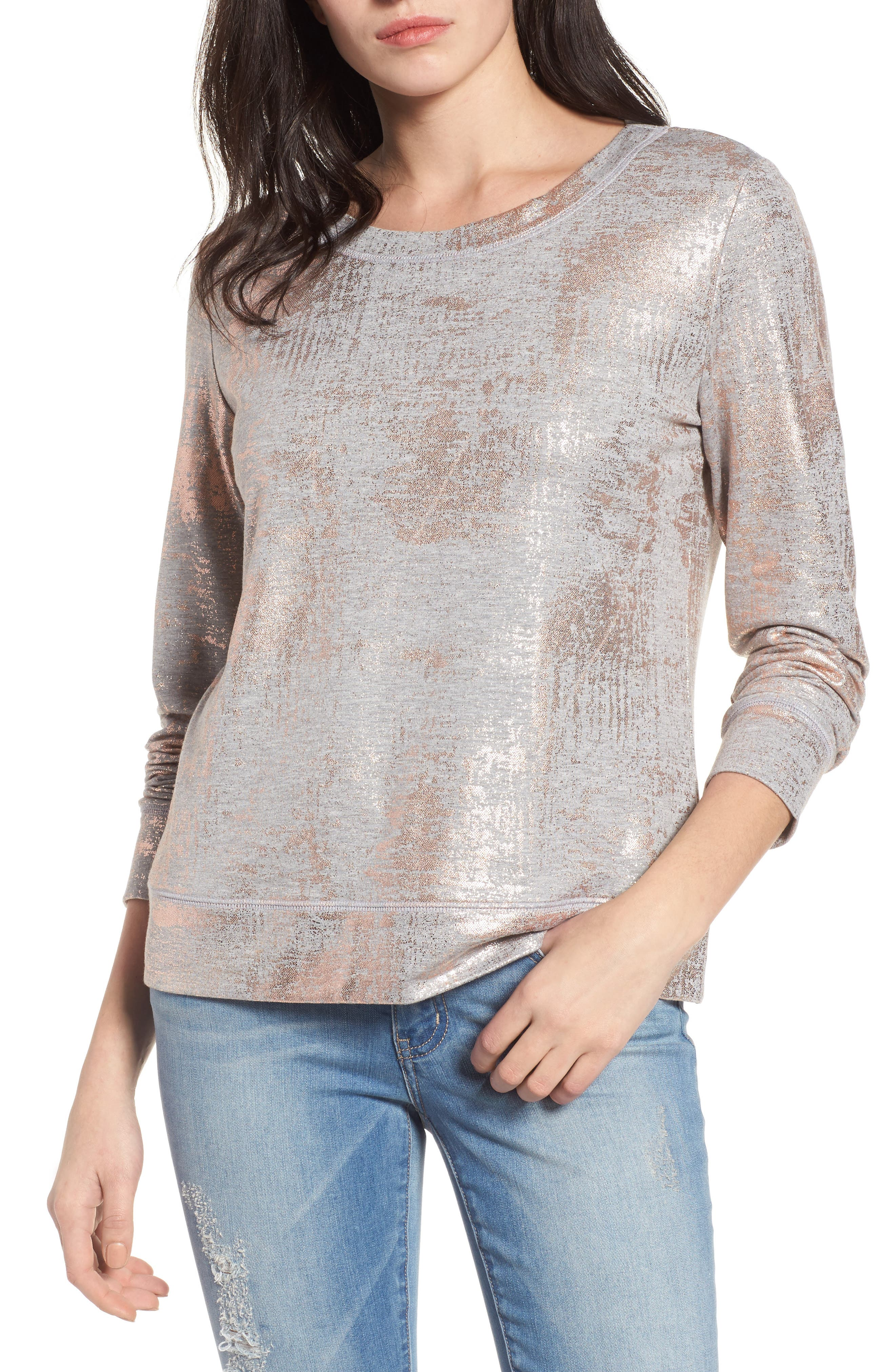 Foiled Sweatshirt,                         Main,                         color, 020