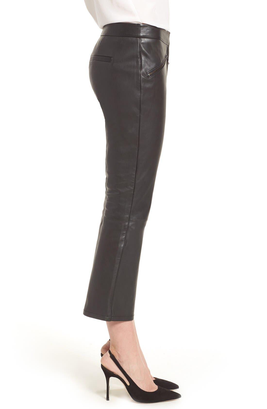 Crop Flare Leather Pants,                             Alternate thumbnail 7, color,                             001