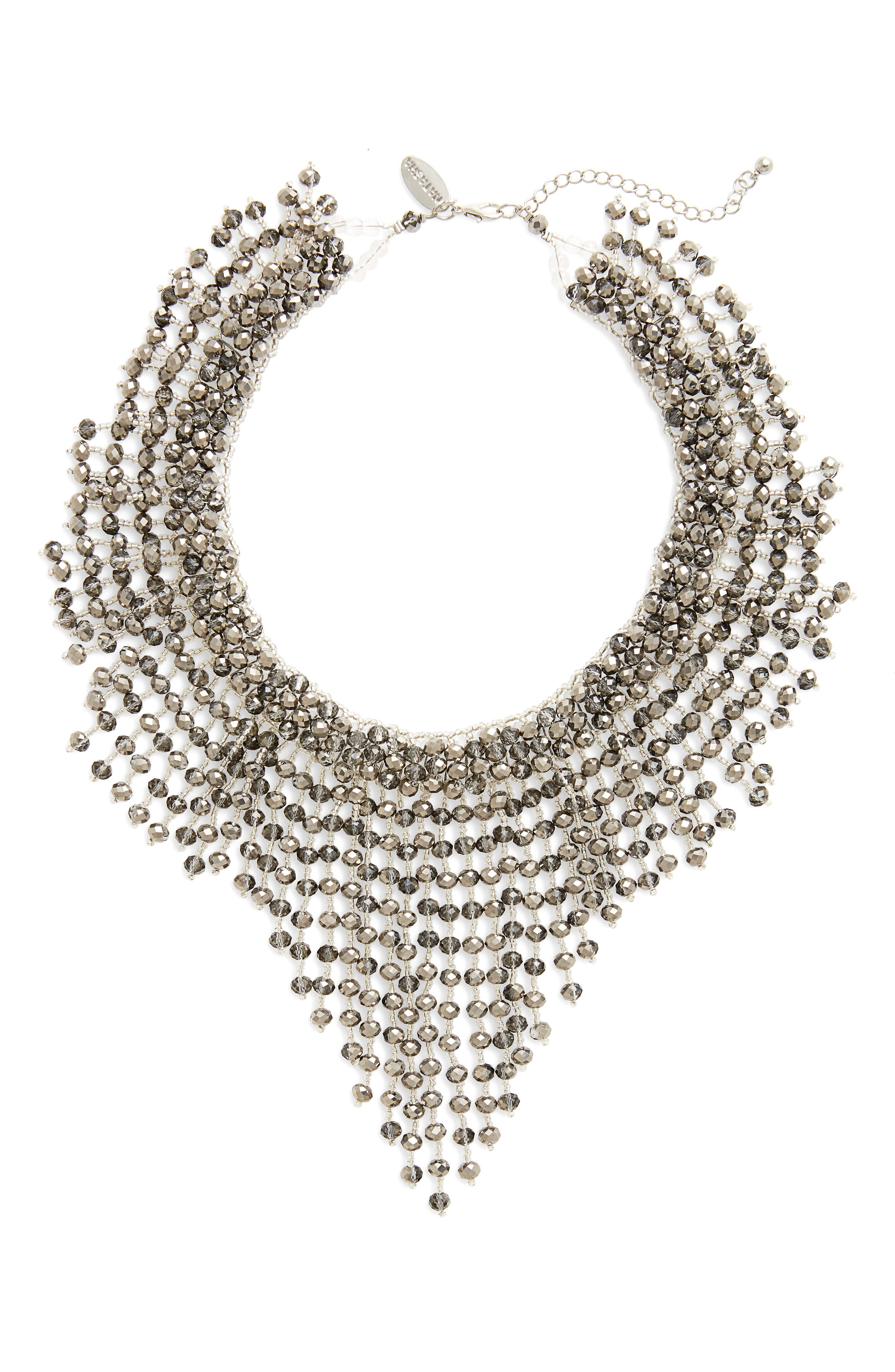 Beaded Bib Necklace,                         Main,                         color, 001