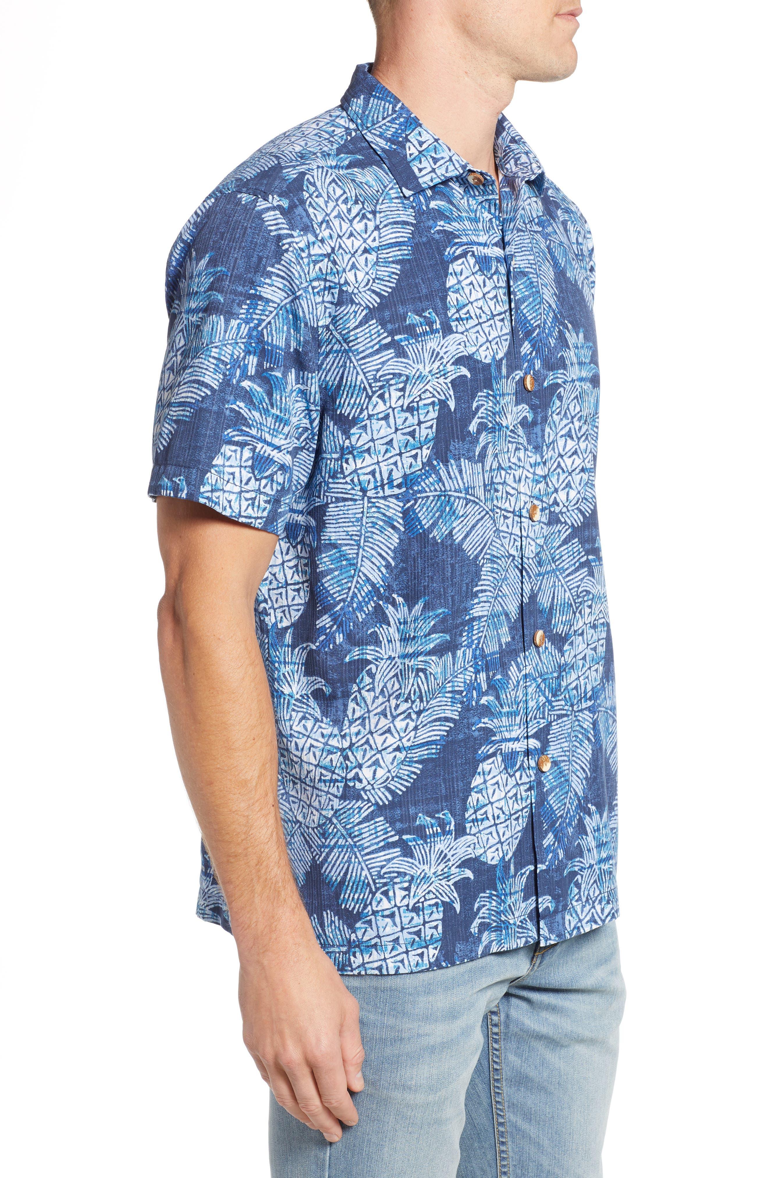 Coastal Colada Silk Blend Camp Shirt,                             Alternate thumbnail 3, color,                             ZEPHYR BLUE