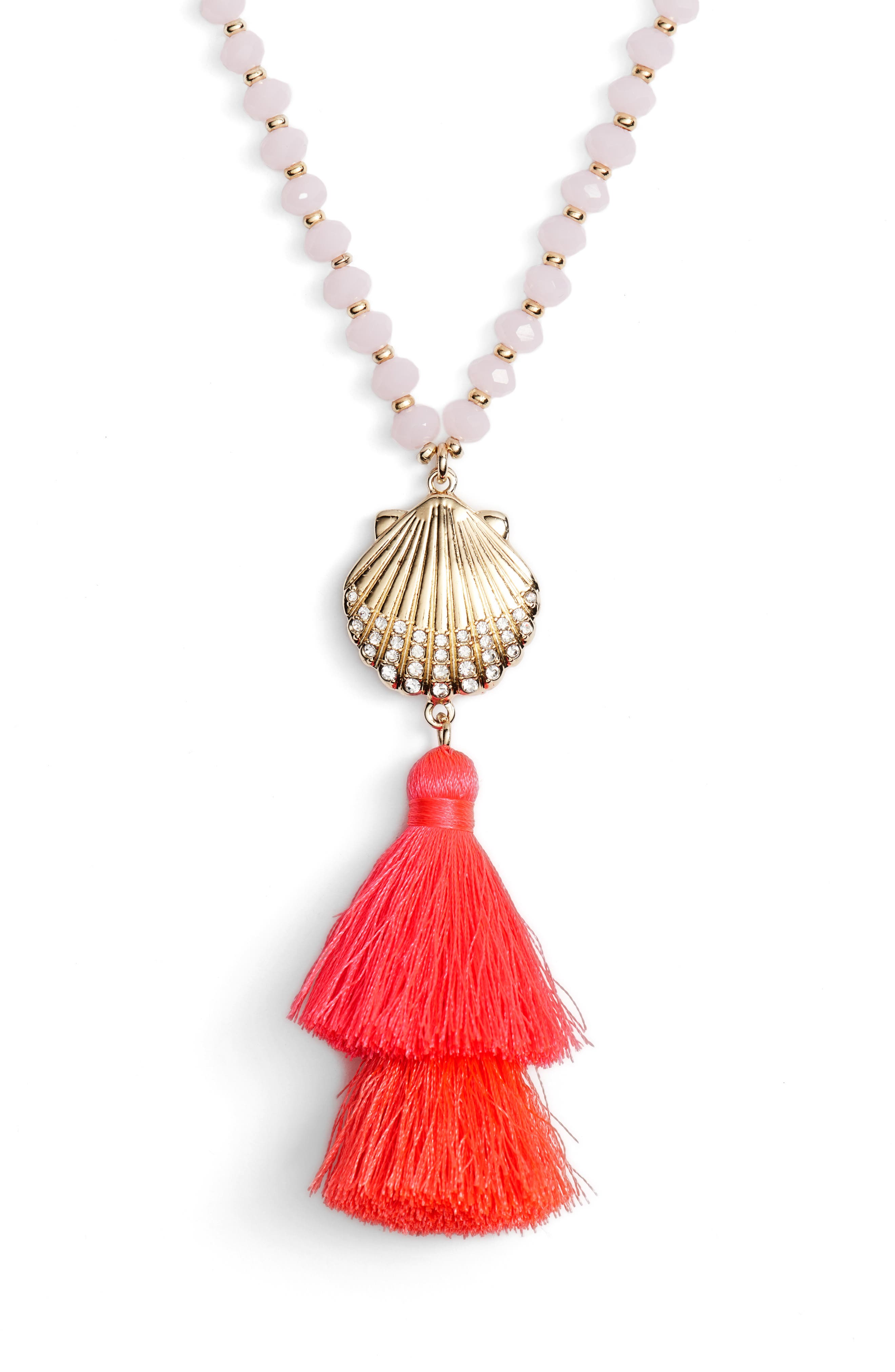 Shell Yeah Pendant Necklace,                             Alternate thumbnail 2, color,                             COSMIC CORAL