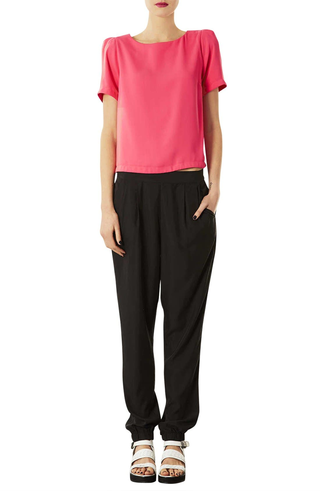 TOPSHOP,                             Tea Blouse,                             Alternate thumbnail 4, color,                             650