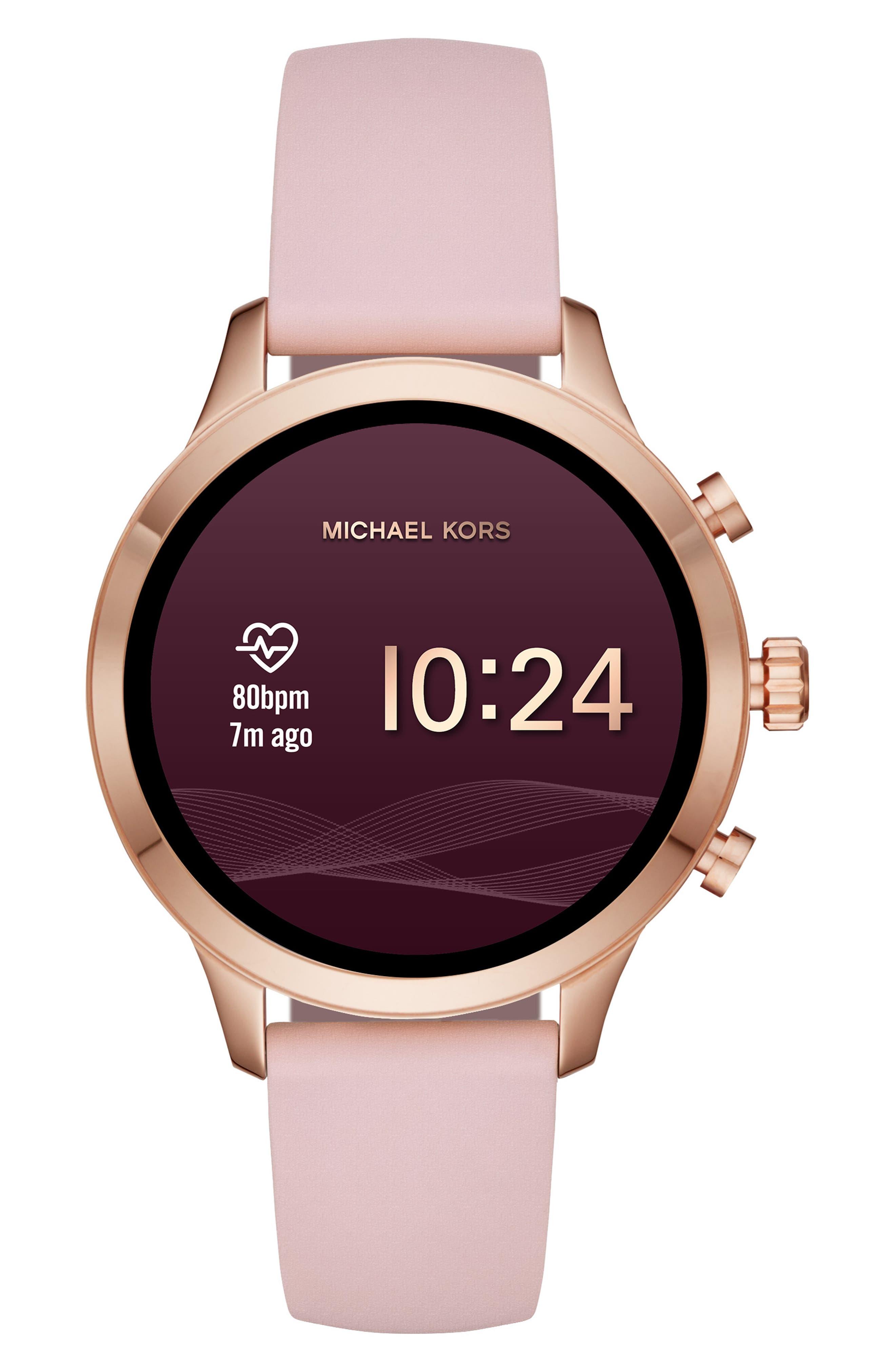 MICHAEL KORS,                             MICHAEL Michael Kors Access Runway Smart Watch, 41mm,                             Alternate thumbnail 5, color,                             PINK/ ROSE GOLD