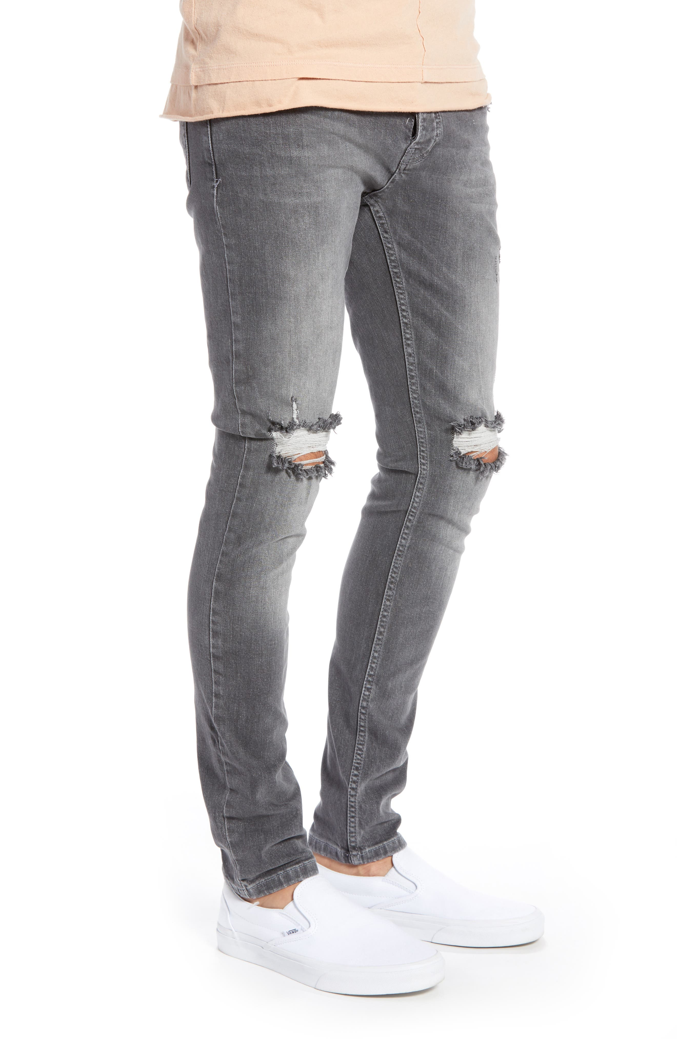 Ripped Stretch Skinny Fit Jeans,                             Alternate thumbnail 3, color,                             GREY