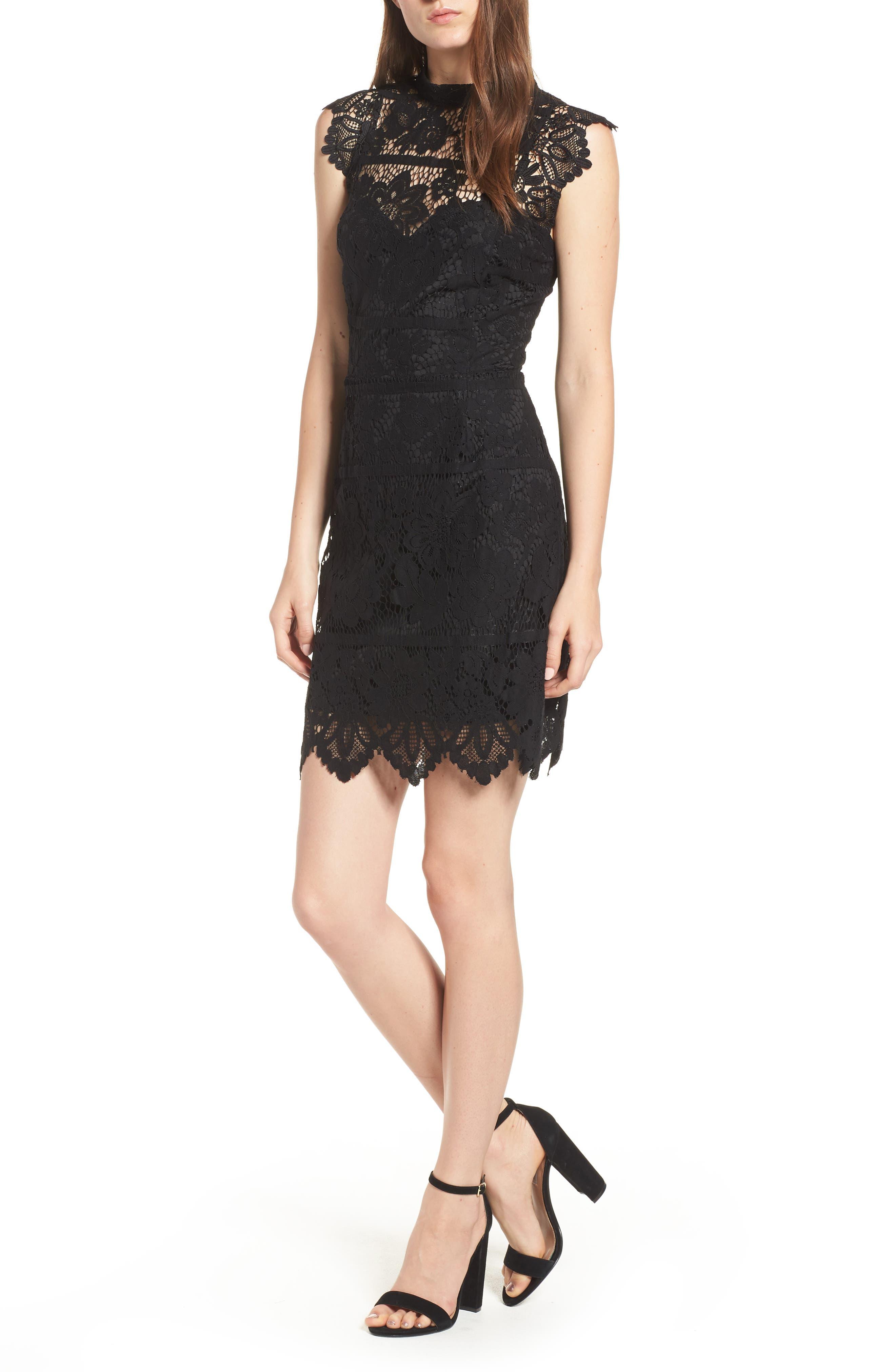Lace Body-Con Minidress,                             Main thumbnail 1, color,