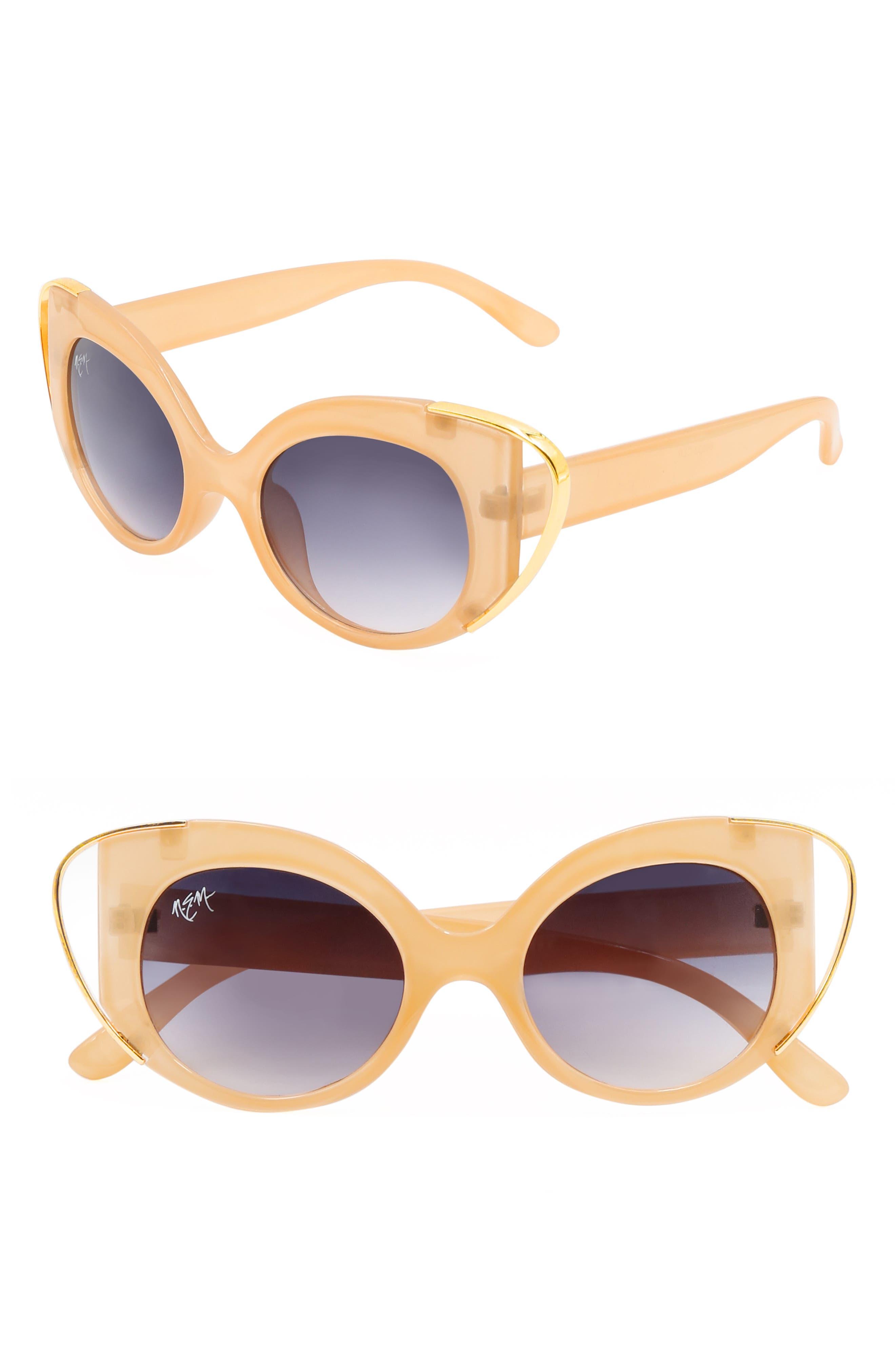 Nem Audrey 50Mm Cutout Cat Eye Sunglasses - Clear Yellow W Grey Gradient