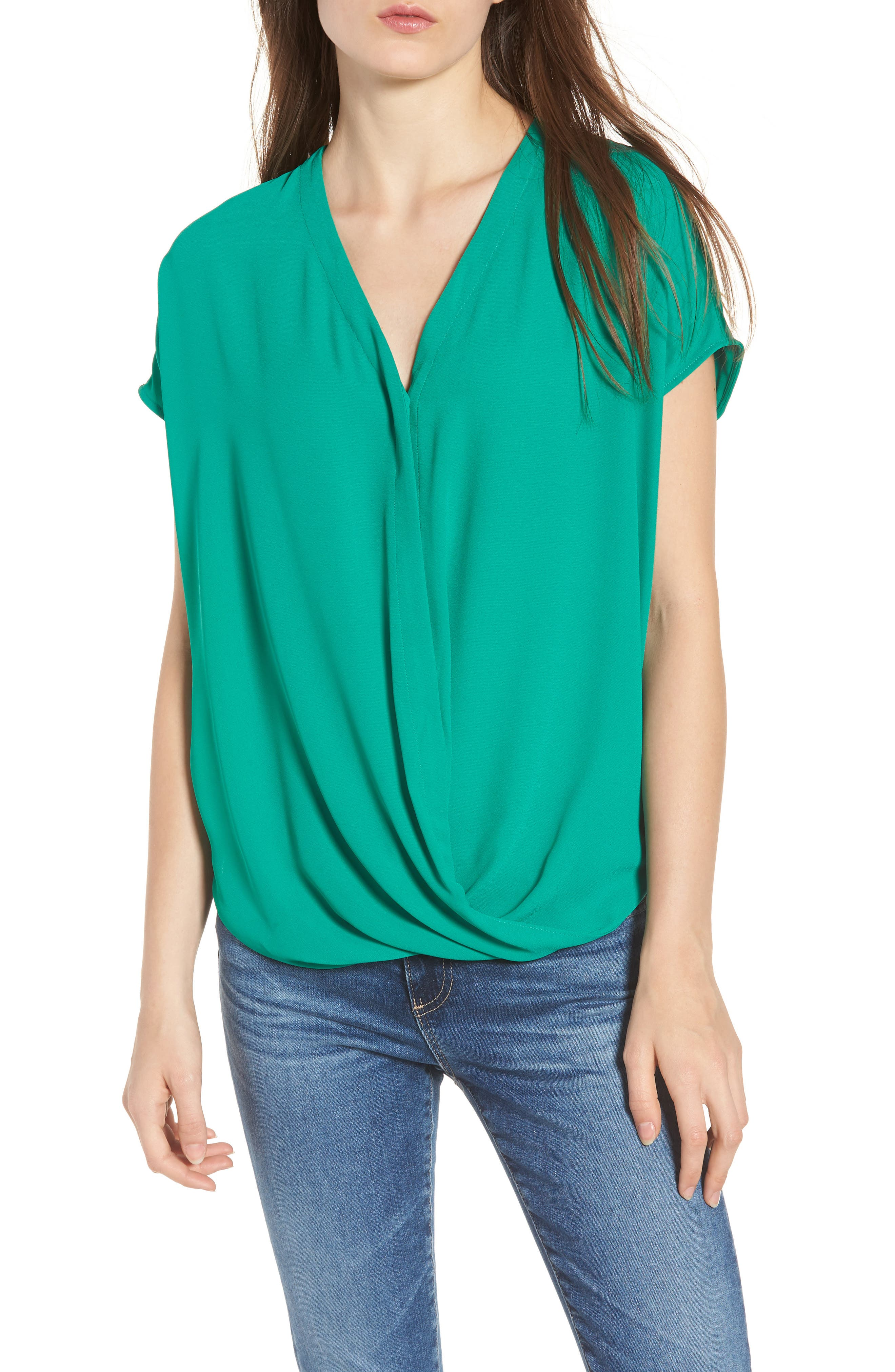 Drape Front Top,                         Main,                         color, GREEN PEPPER