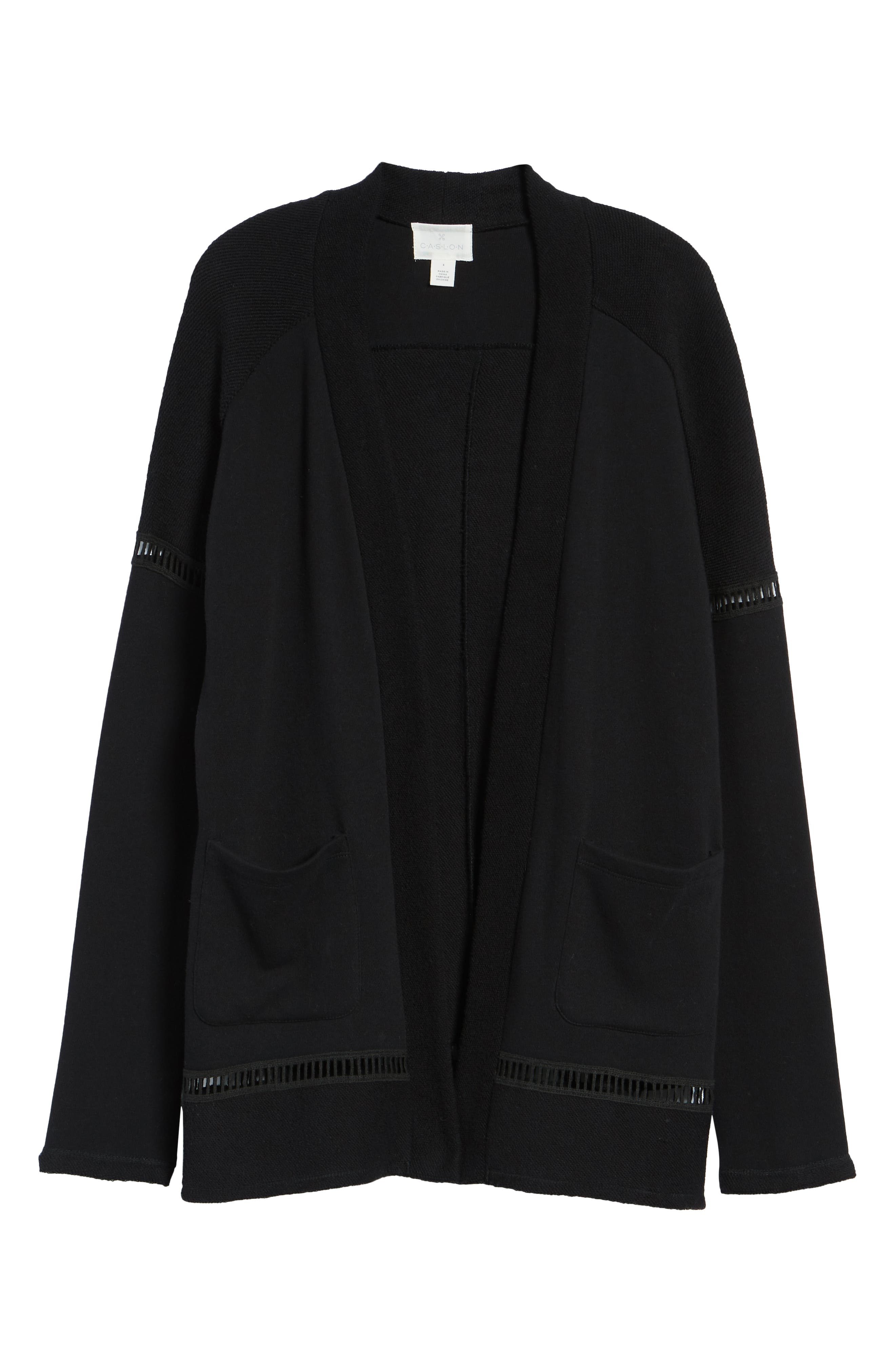 French Terry Open Front Cotton Cardigan,                             Alternate thumbnail 6, color,                             BLACK