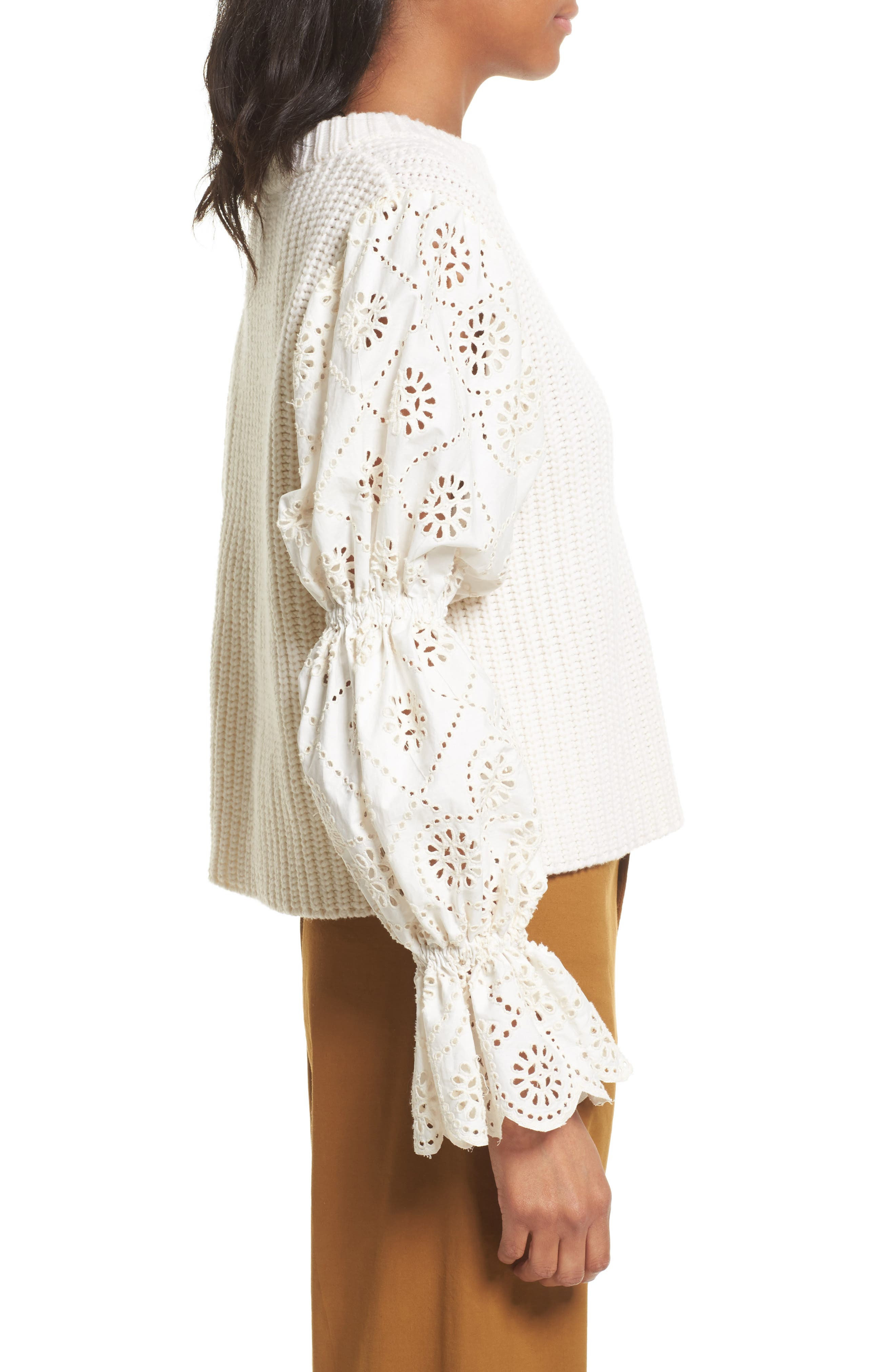 Eyelet Puff Sleeve Sweater,                             Alternate thumbnail 3, color,                             900