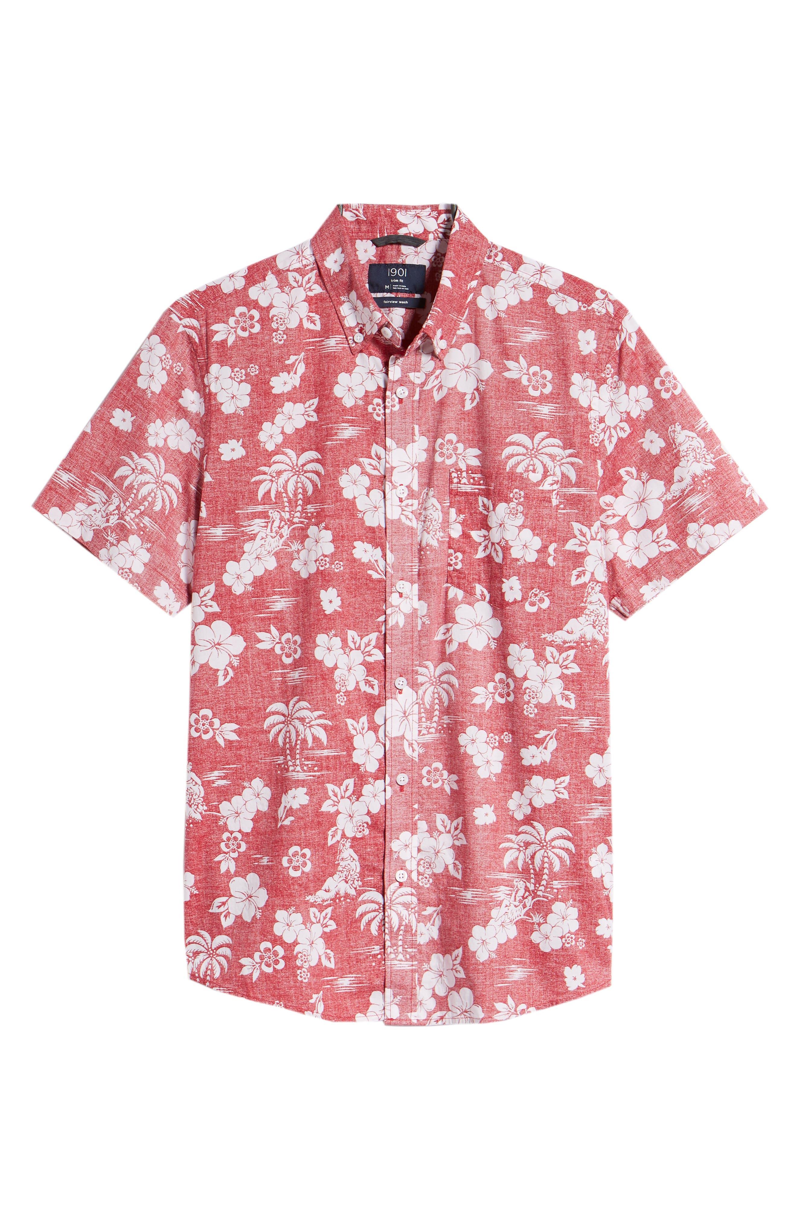 Trim Fit Island Print Sport Shirt,                             Alternate thumbnail 6, color,                             610