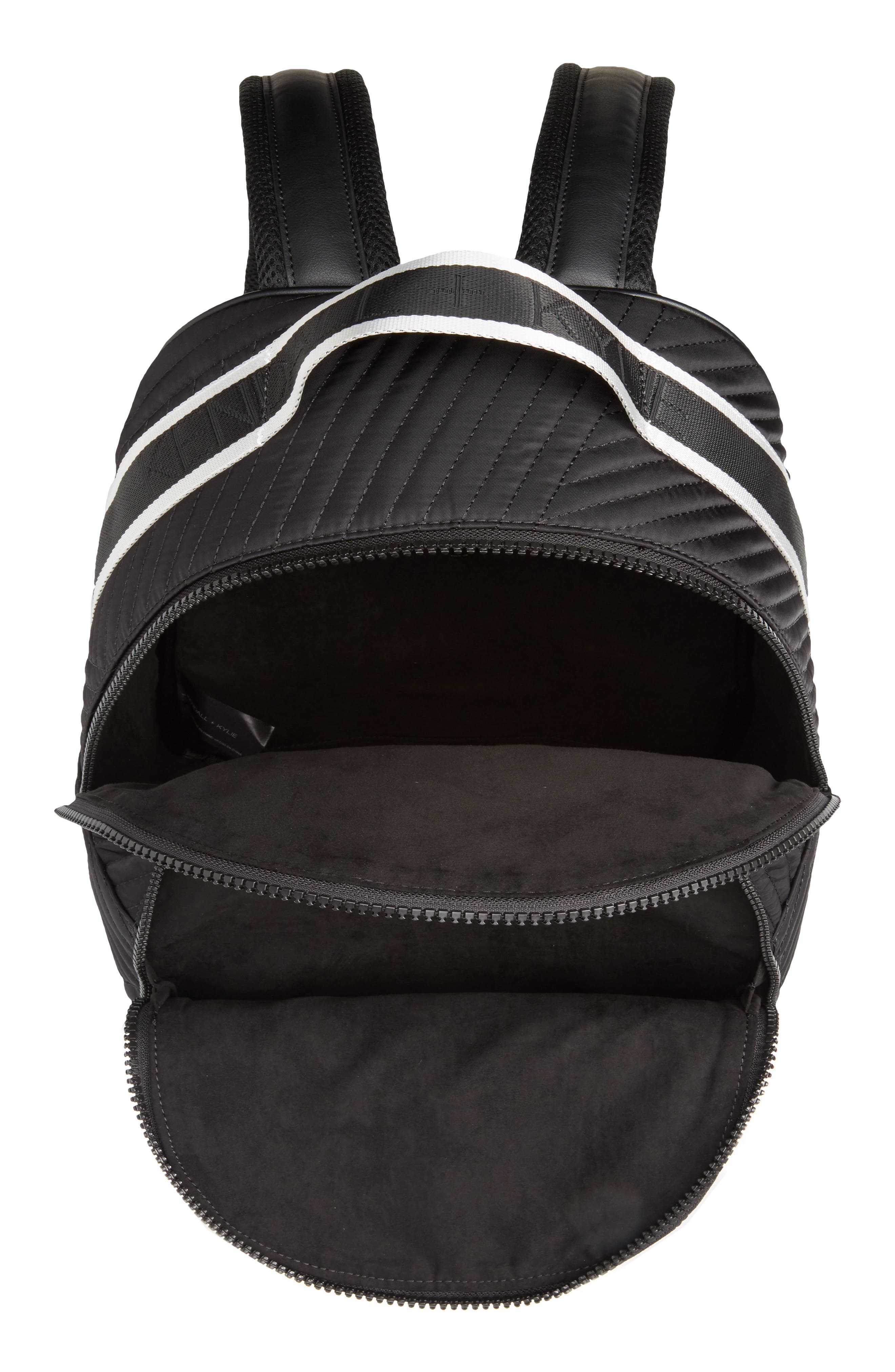 Jo Quilted Nylon Backpack,                             Alternate thumbnail 4, color,                             001