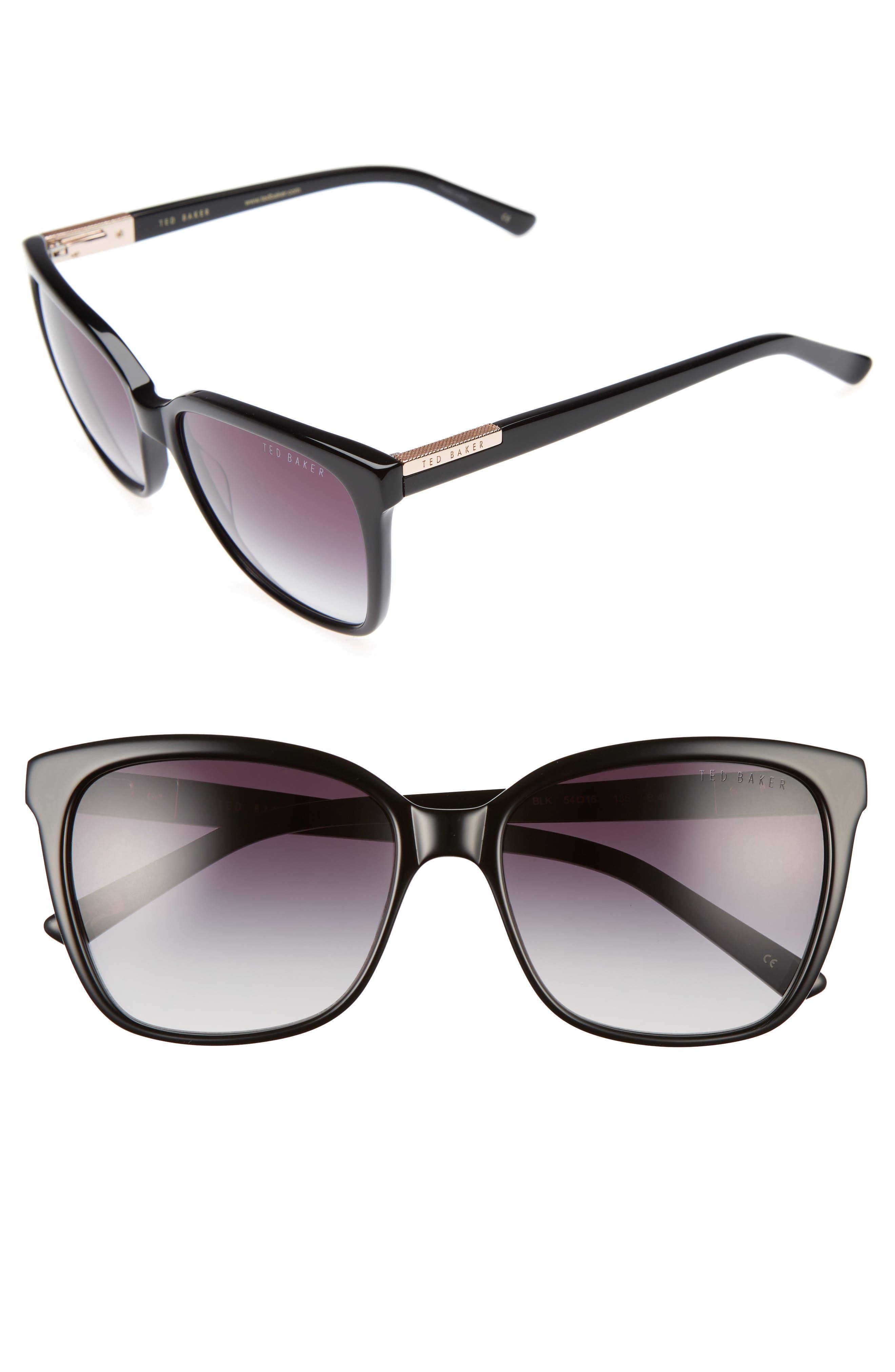 54mm Gradient Lens Square Sunglasses,                             Main thumbnail 1, color,                             001