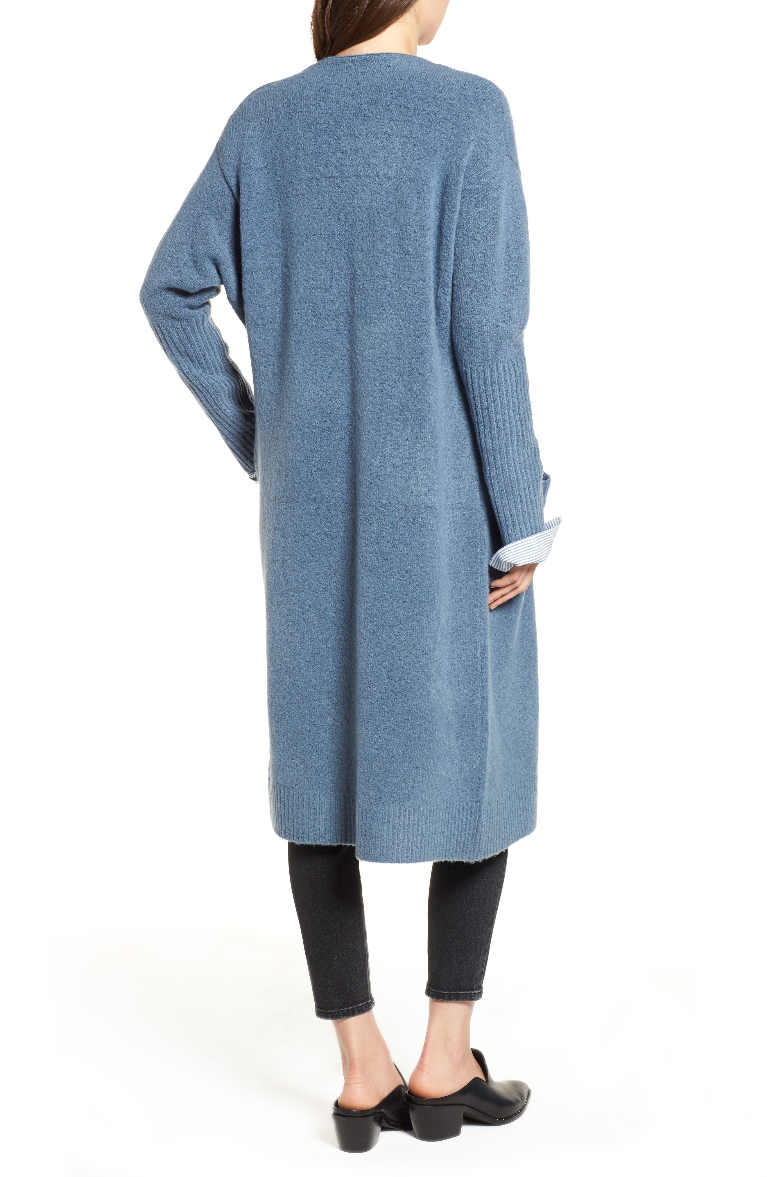 Long Knit Duster,                             Alternate thumbnail 2, color,                             BLUE CAPTAIN HEATHER