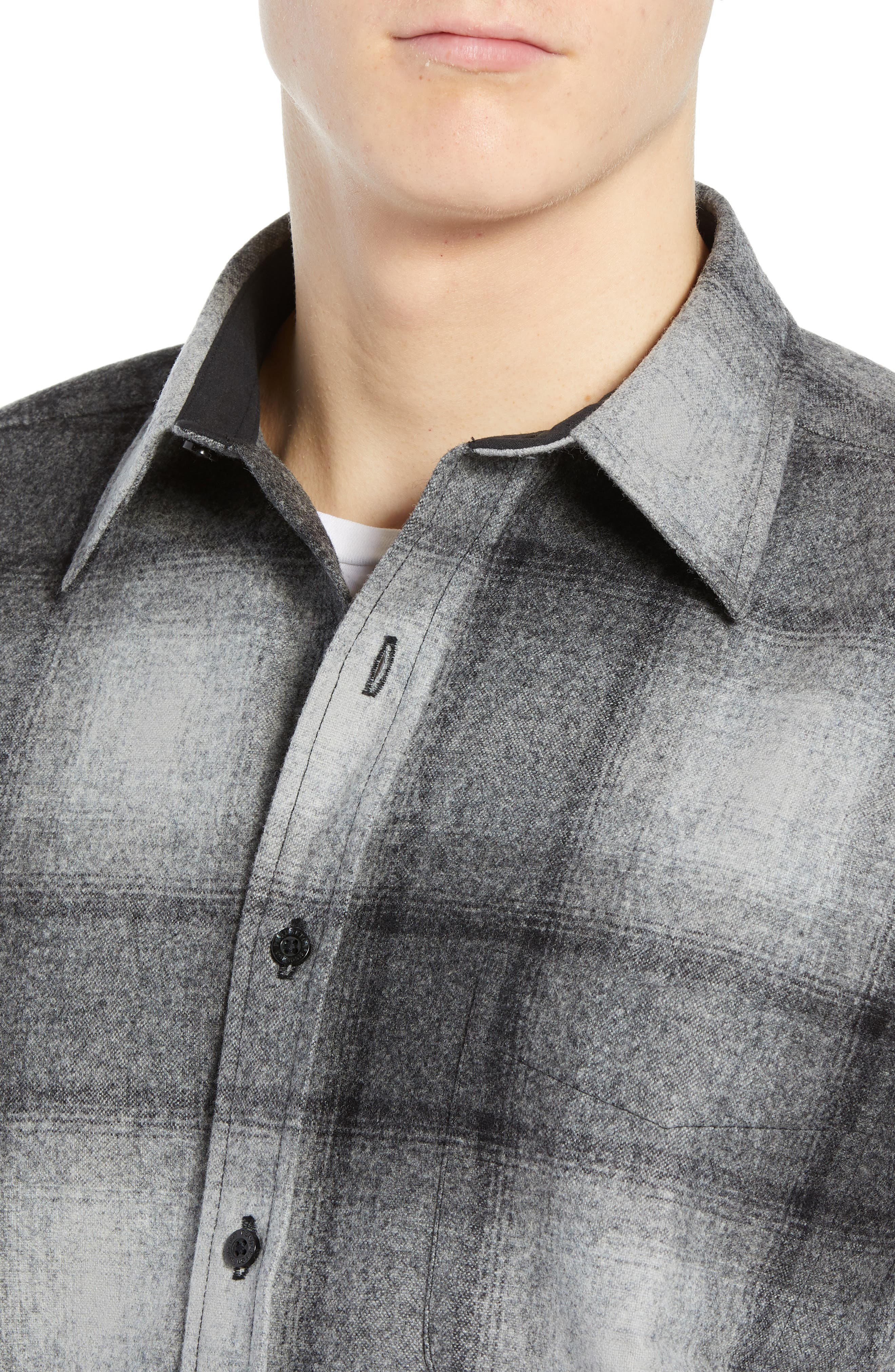 Lodge Wool Flannel Shirt,                             Alternate thumbnail 2, color,                             BLACK/ GREY MIX OMBRE
