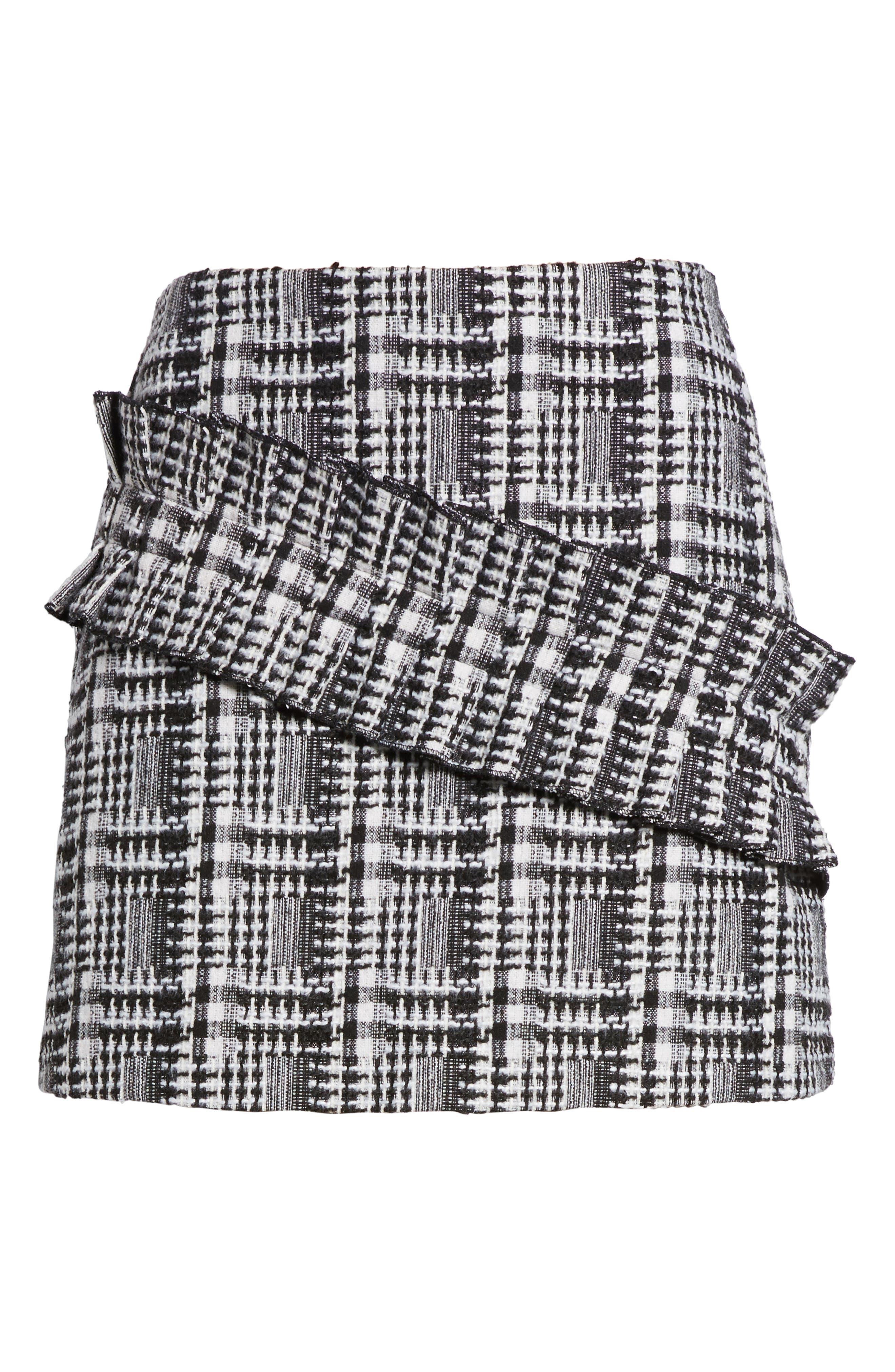 Ruffle Tweed Skirt,                             Alternate thumbnail 6, color,
