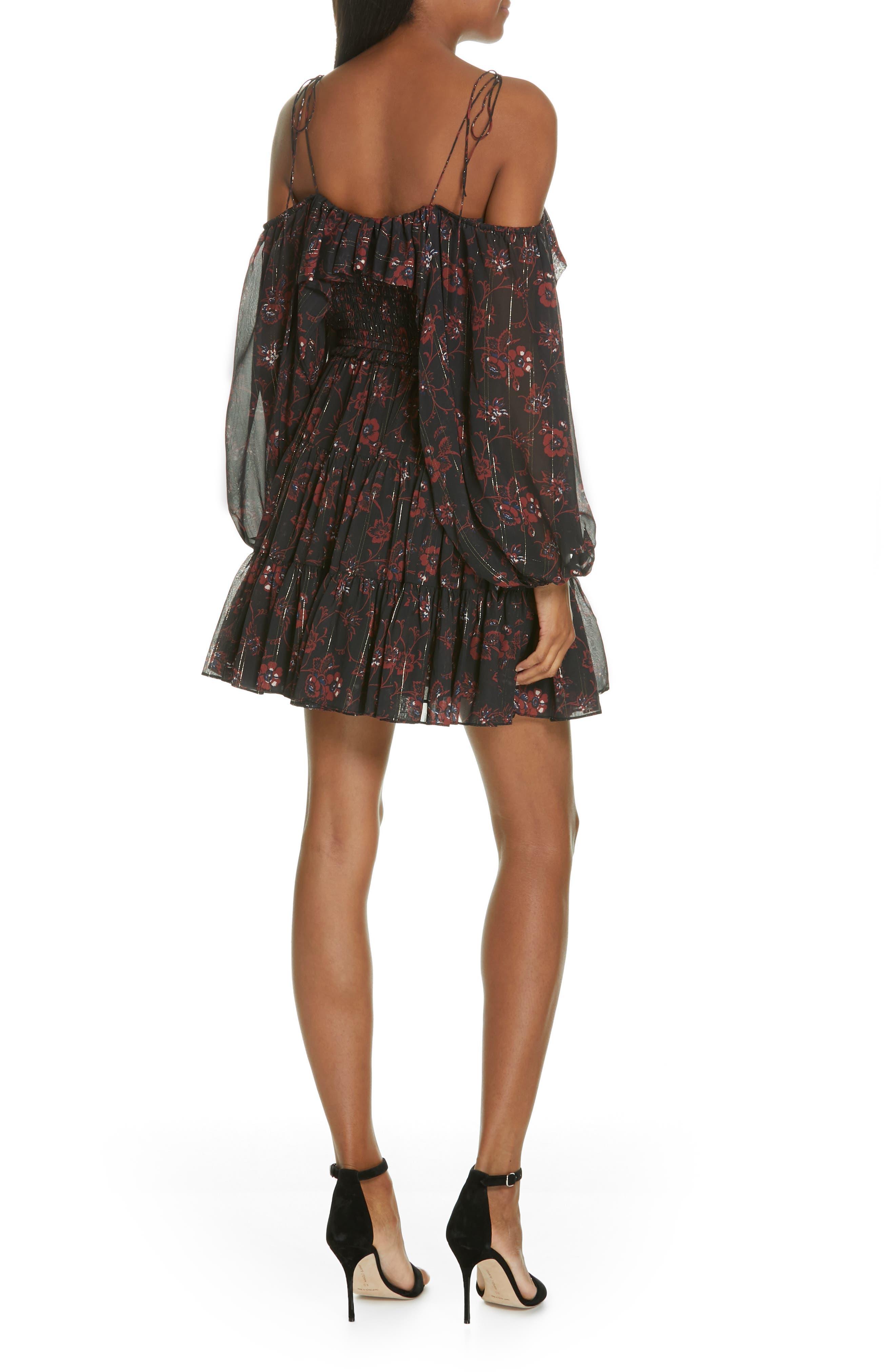 Monet Metallic Floral Cold Shoulder Silk Blend Dress,                             Alternate thumbnail 2, color,                             NOIR
