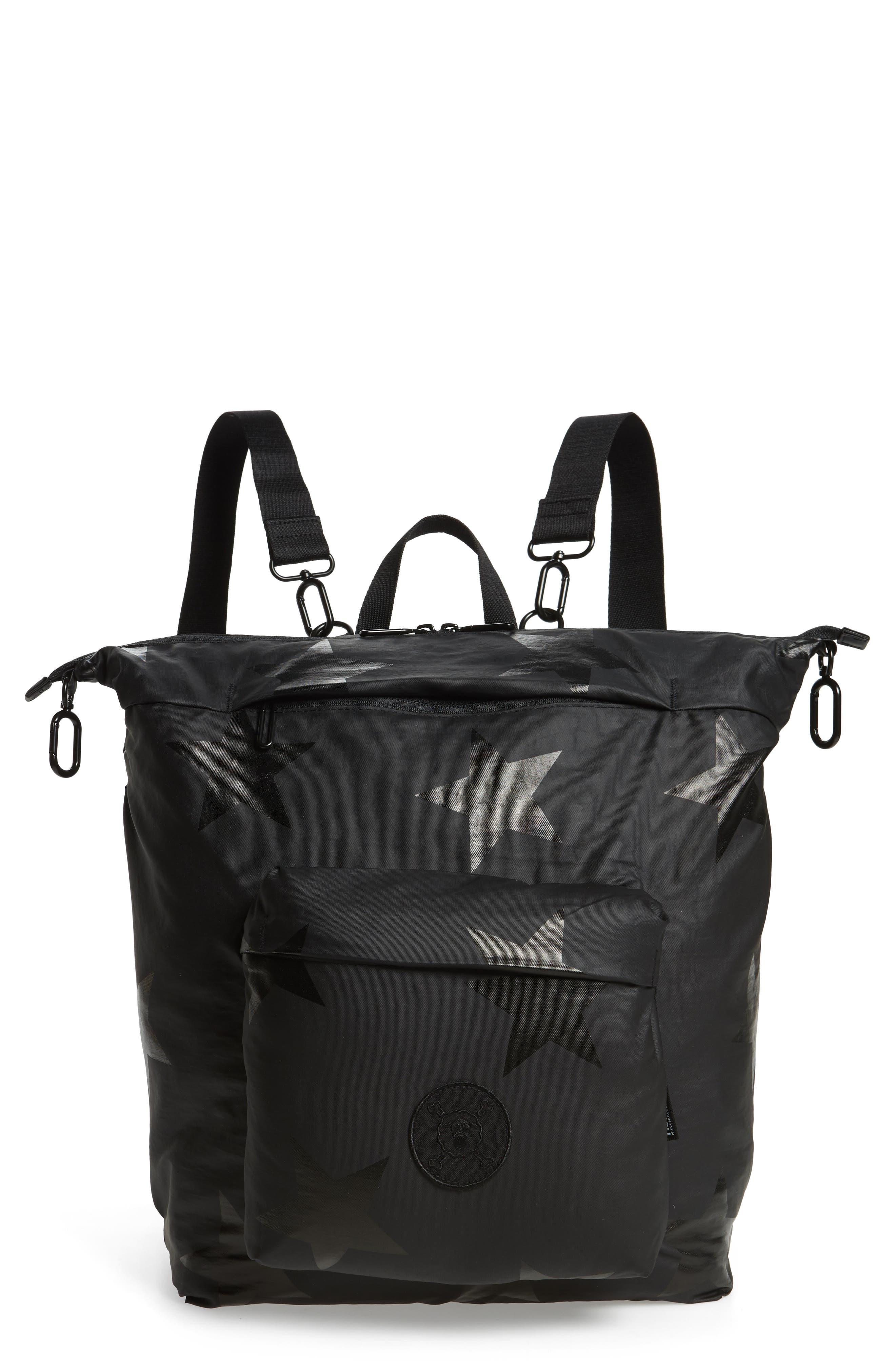 +one duo Nylon Convertible Diaper Bag,                         Main,                         color, BLACK STAR