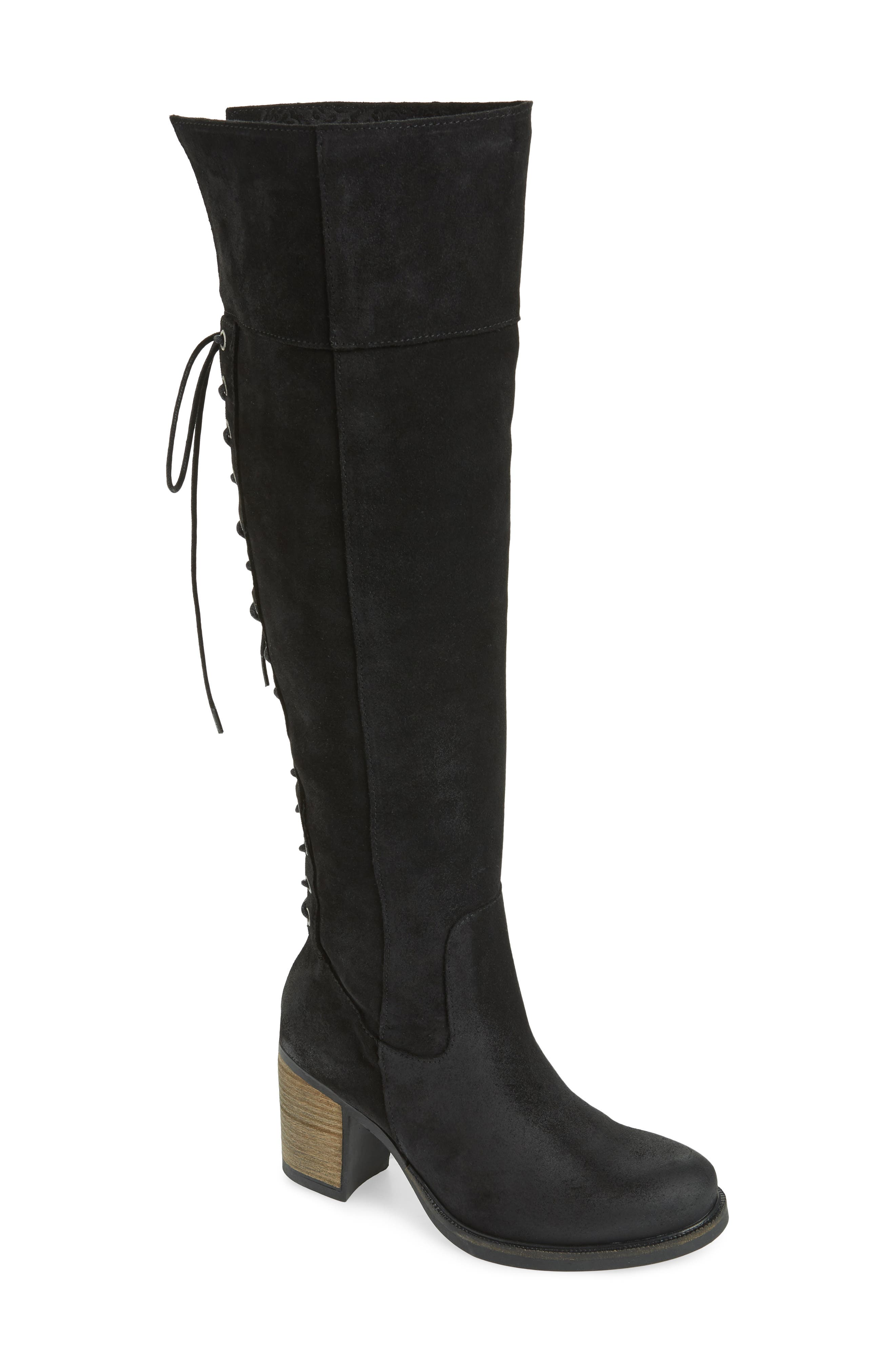 Bond Waterproof Over-the-Knee Boot,                             Main thumbnail 1, color,                             BLACK OIL SUEDE
