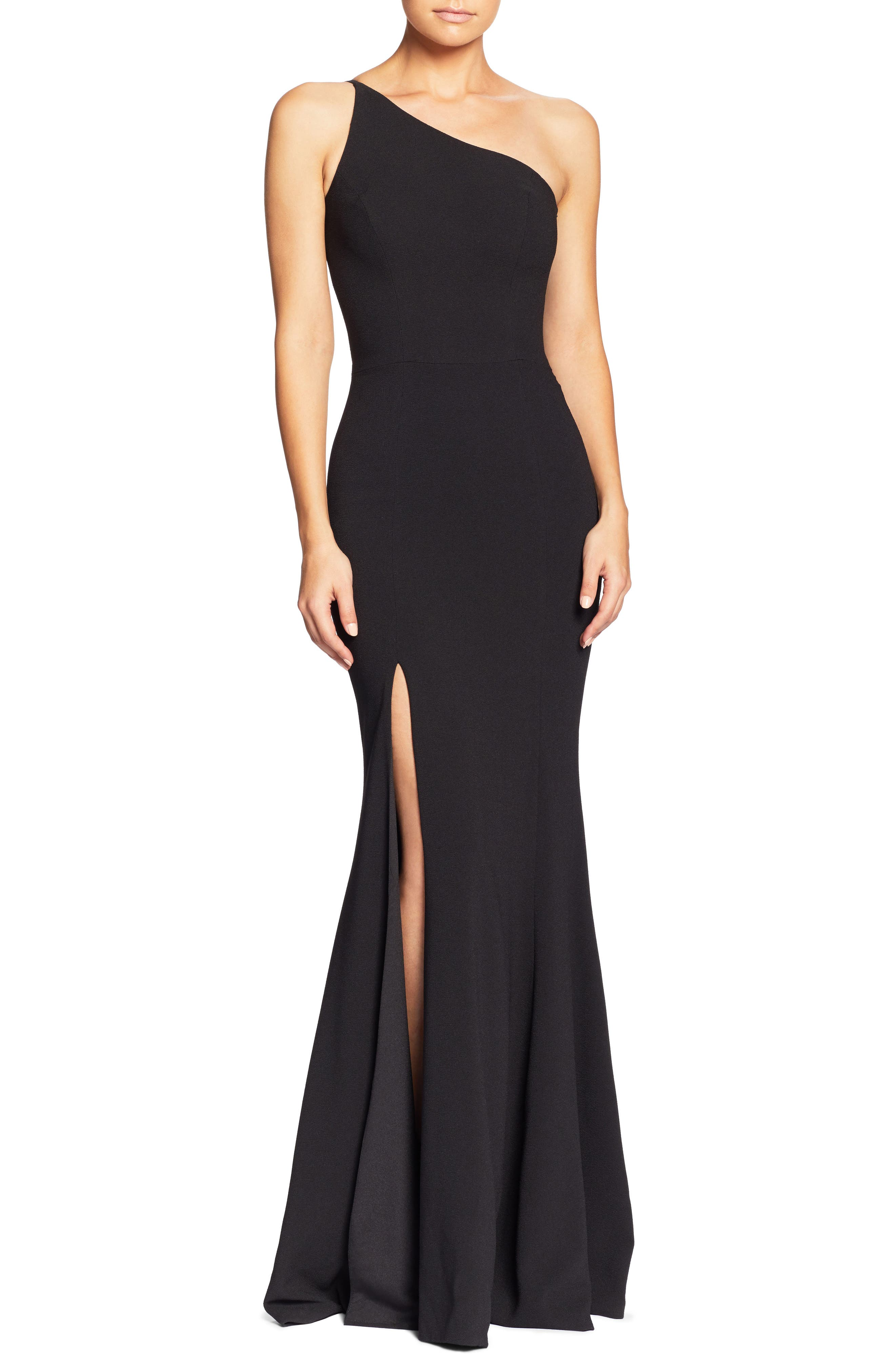 DRESS THE POPULATION,                             Amy One-Shoulder Crepe Gown,                             Main thumbnail 1, color,                             001