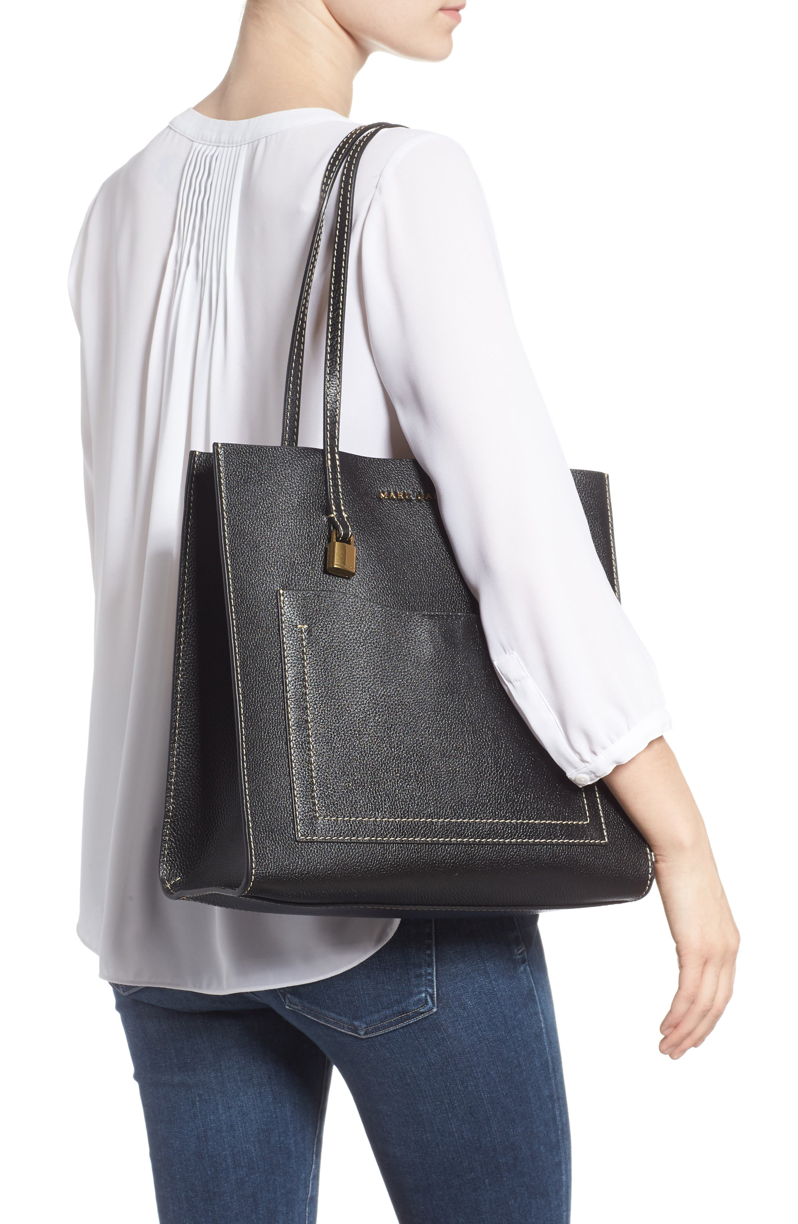 The Grind Leather Tote,                             Alternate thumbnail 2, color,                             BLACK/ DARK CHERRY