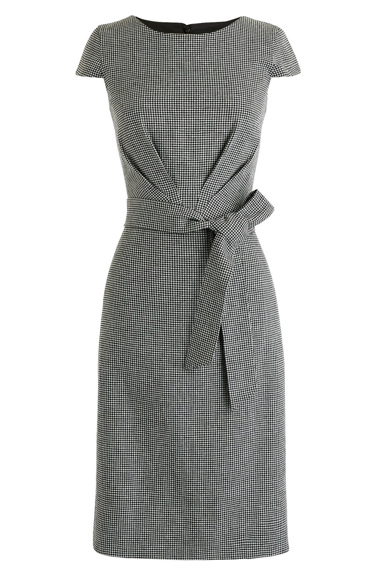 Tie Front Micro Houndstooth Dress,                             Alternate thumbnail 4, color,                             010