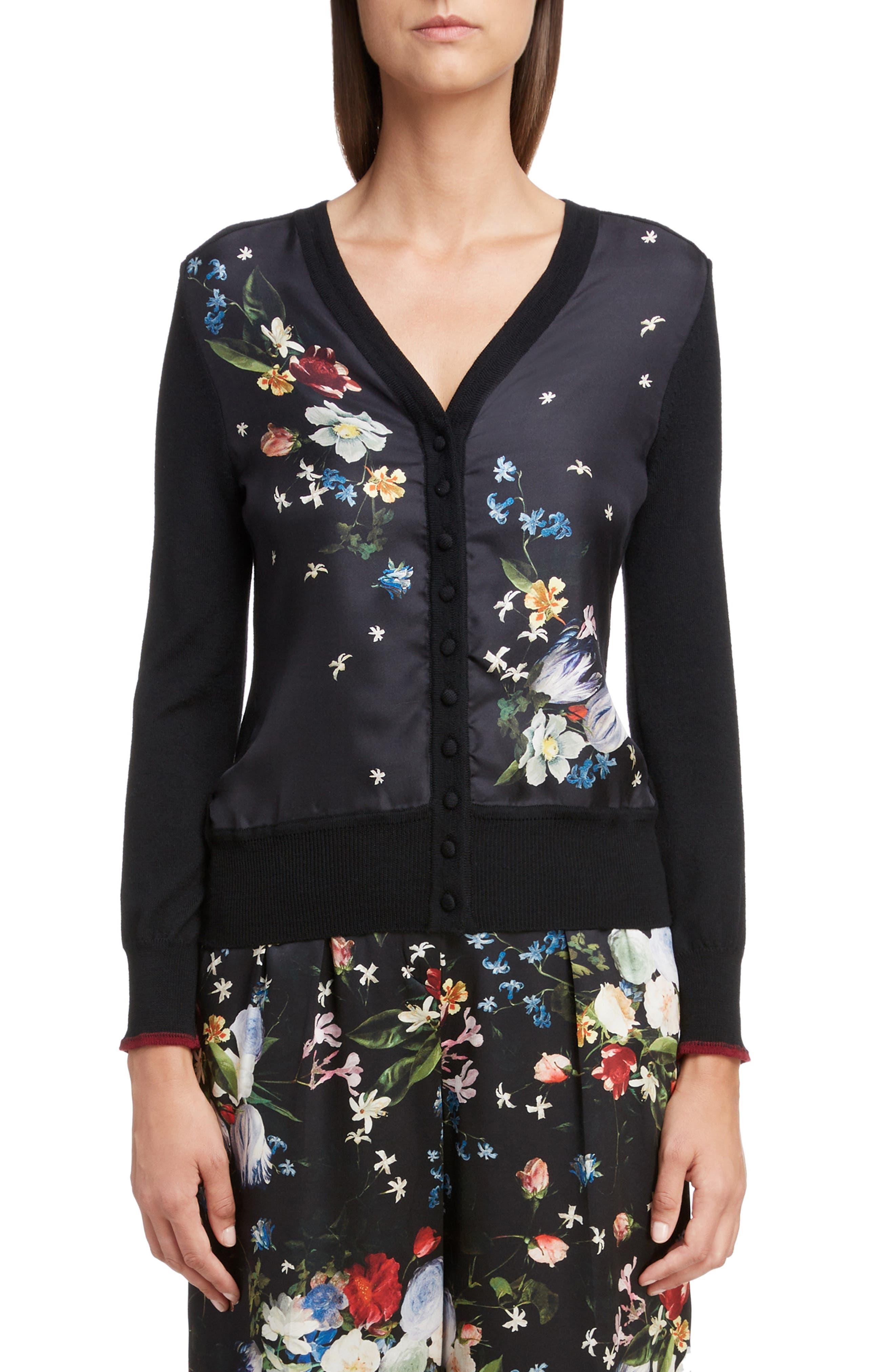 Erdem Floral Merino & Silk Wool Cardigan