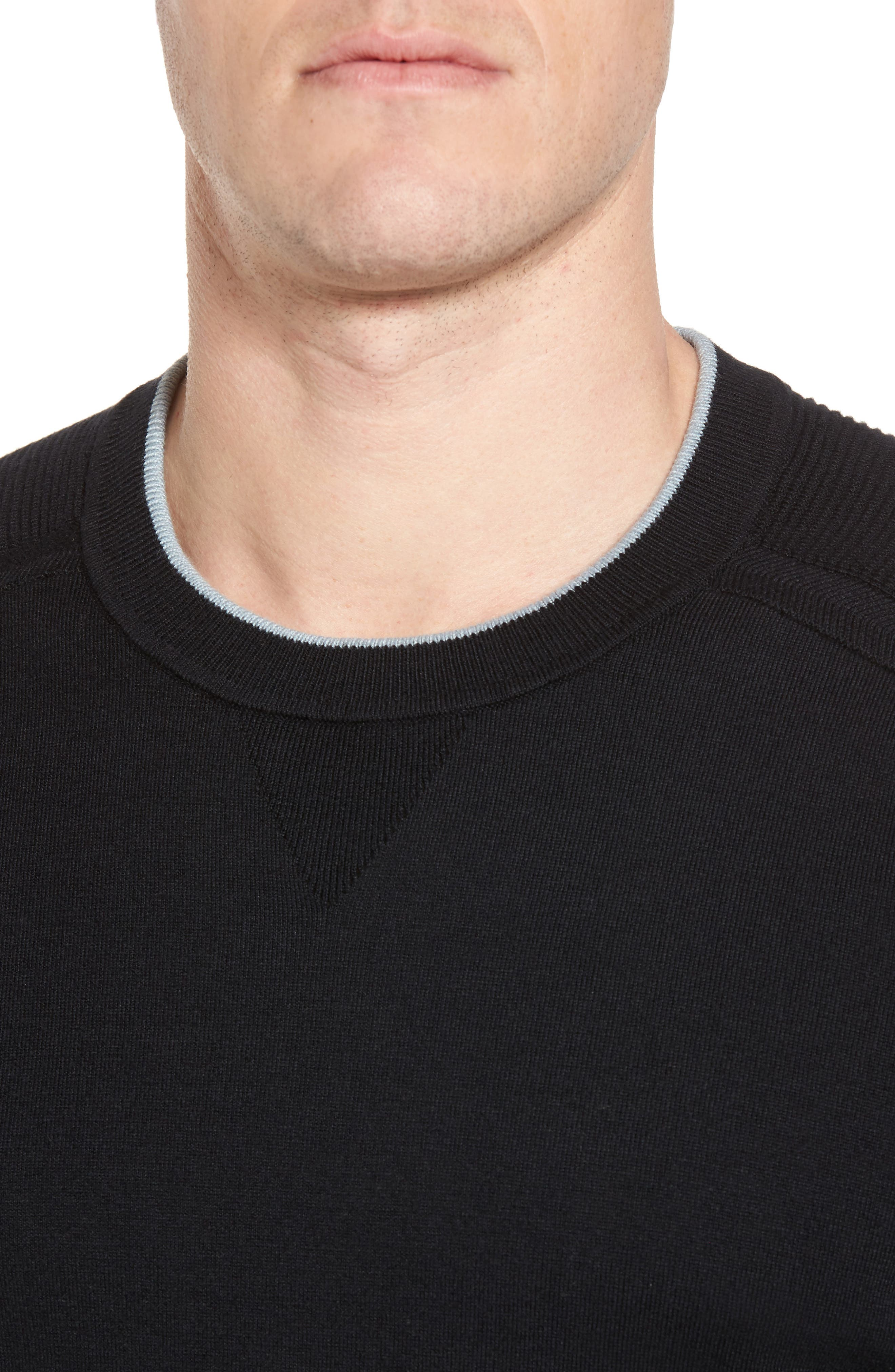 Kayfed Rib Sleeve Sweater,                             Alternate thumbnail 4, color,                             001