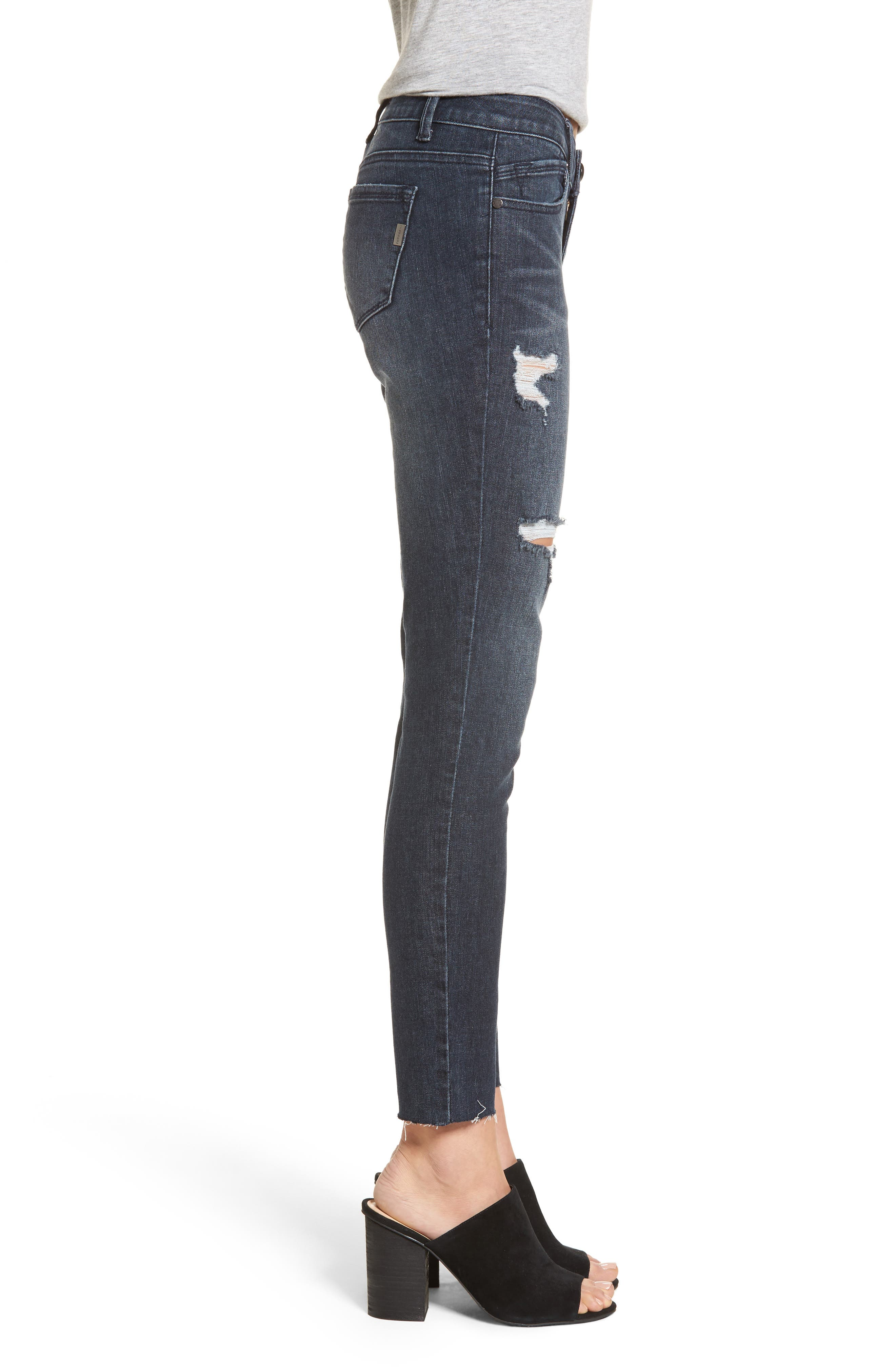 Distressed Skinny Jeans,                             Alternate thumbnail 3, color,                             403