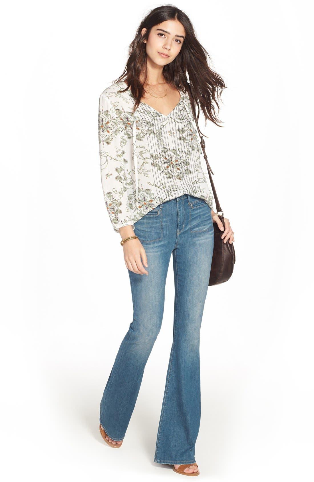 Treasure&Bond High Rise Skinny Flare Jeans,                             Alternate thumbnail 2, color,                             400