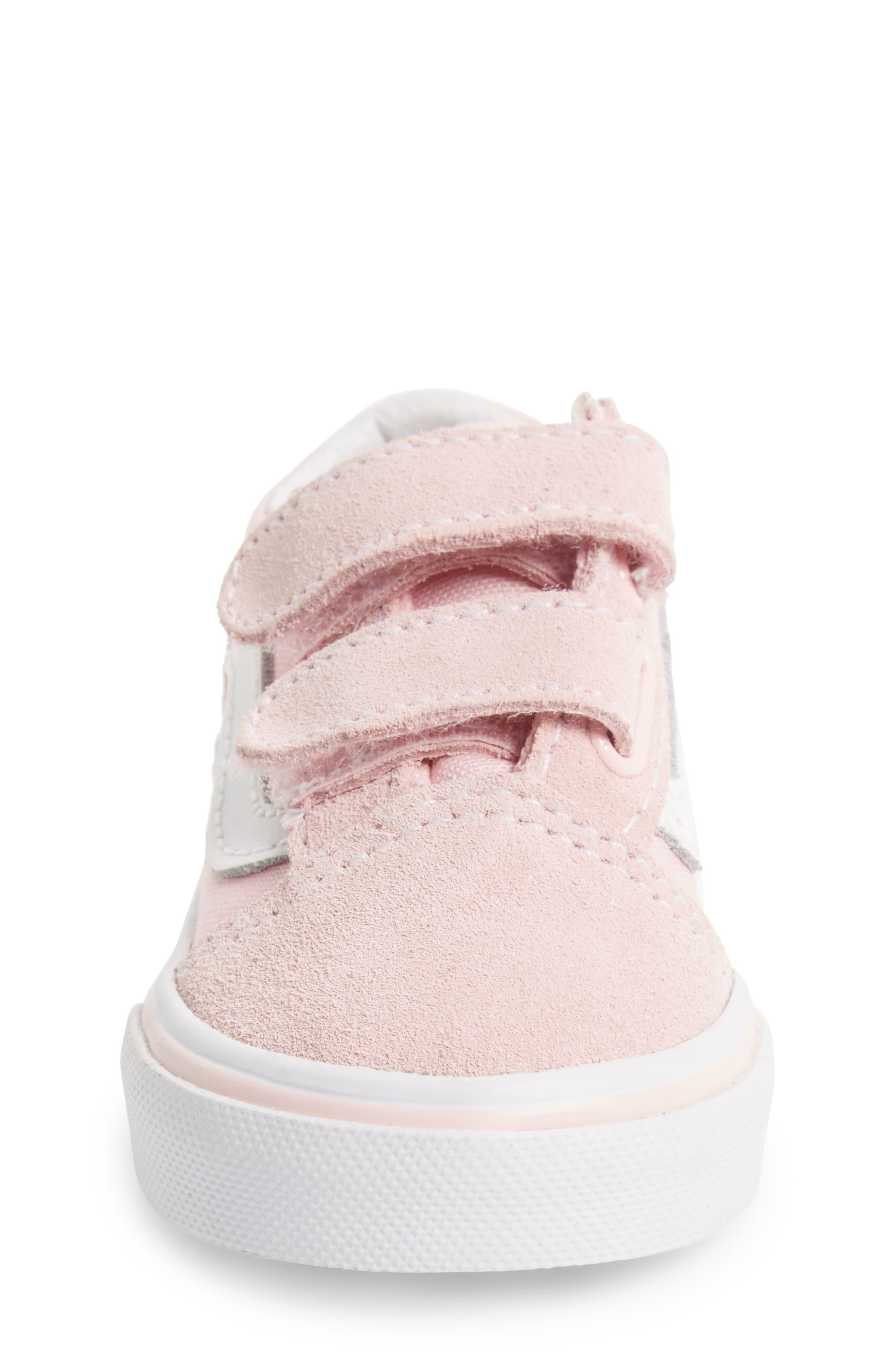 'Old Skool V' Sneaker,                             Alternate thumbnail 4, color,                             CHALK PINK/ TRUE WHITE