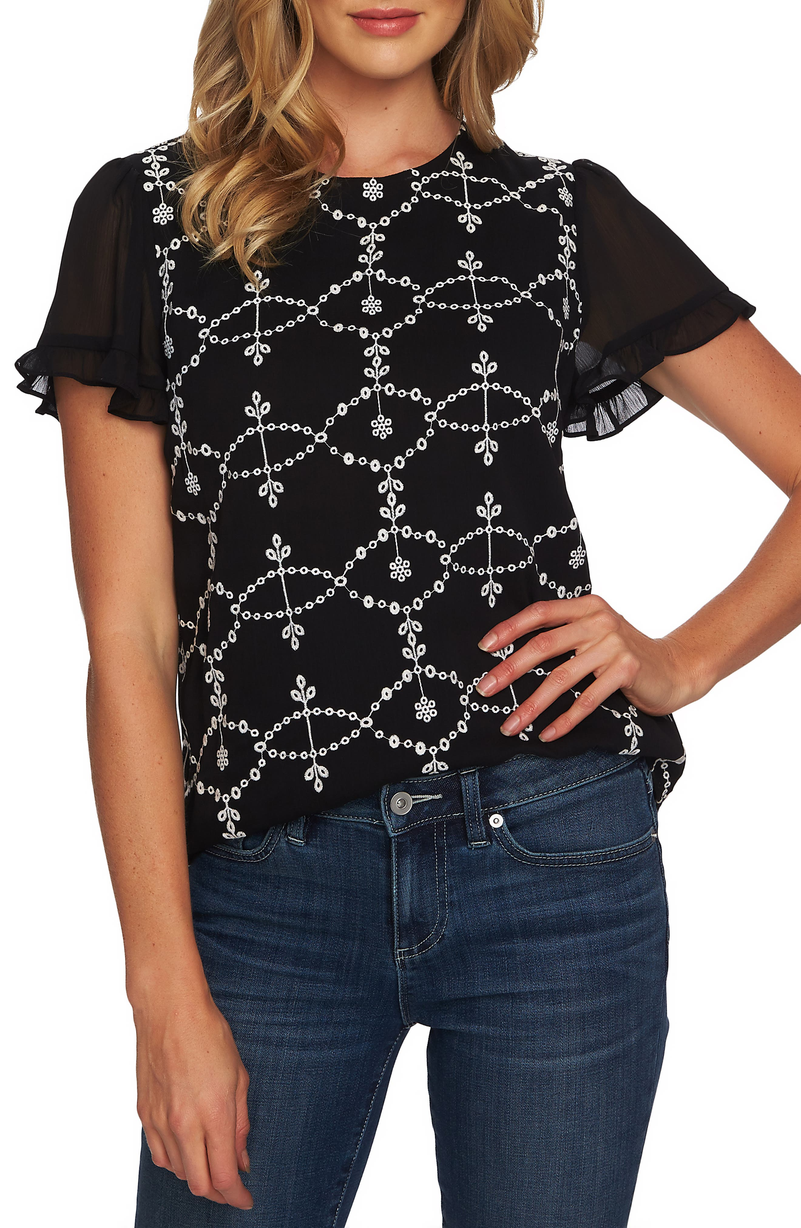 CECE Embroidered Ruffle Sleeve Top, Main, color, RICH BLACK