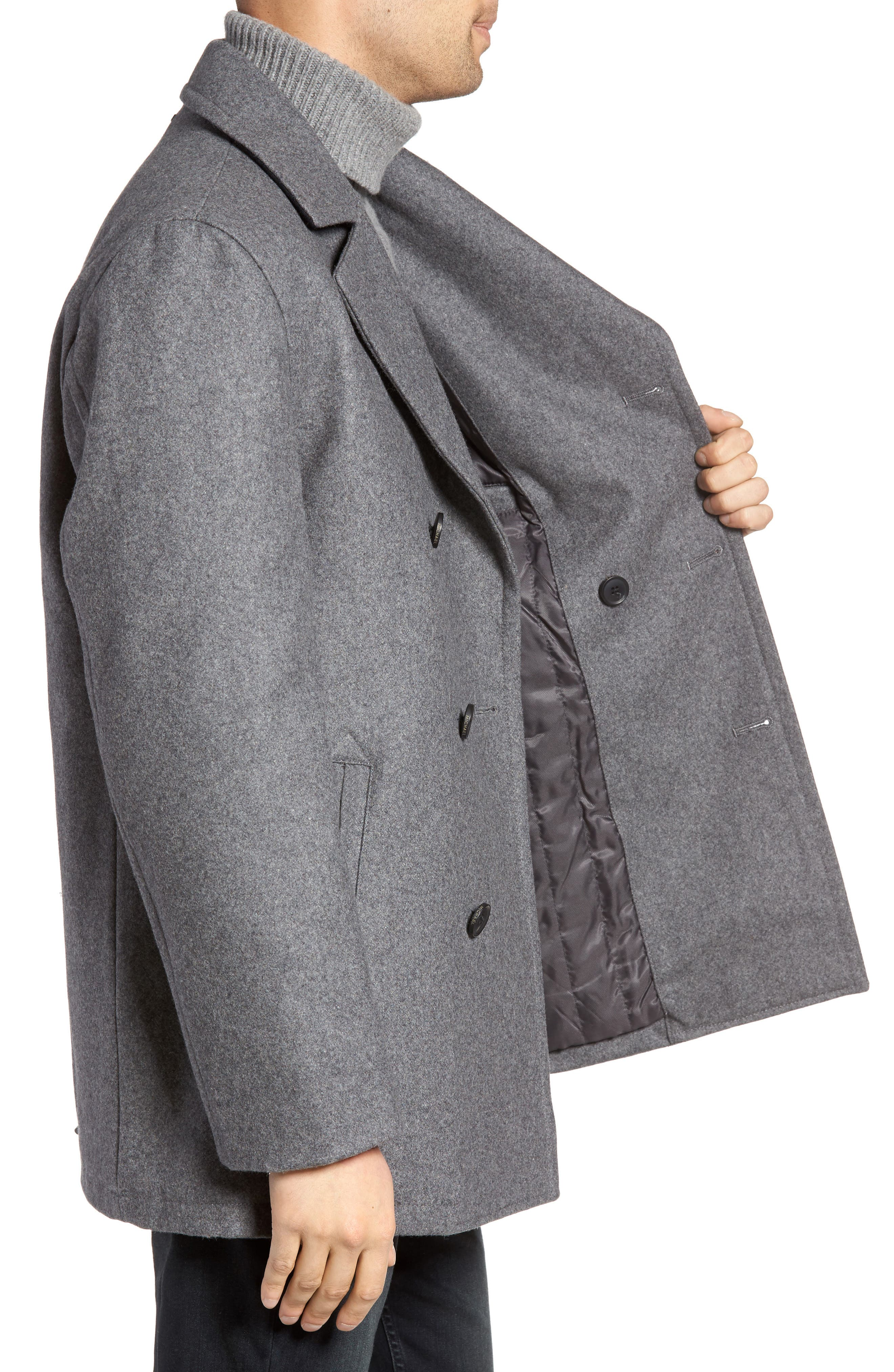 Wool Blend Double Breasted Peacoat,                             Alternate thumbnail 53, color,