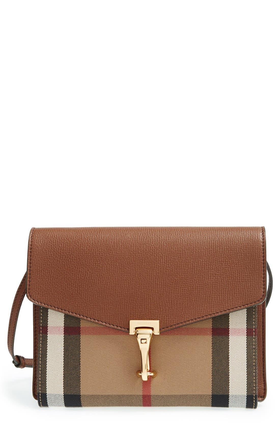 'Small Macken' Check Crossbody Bag,                         Main,                         color, TAN