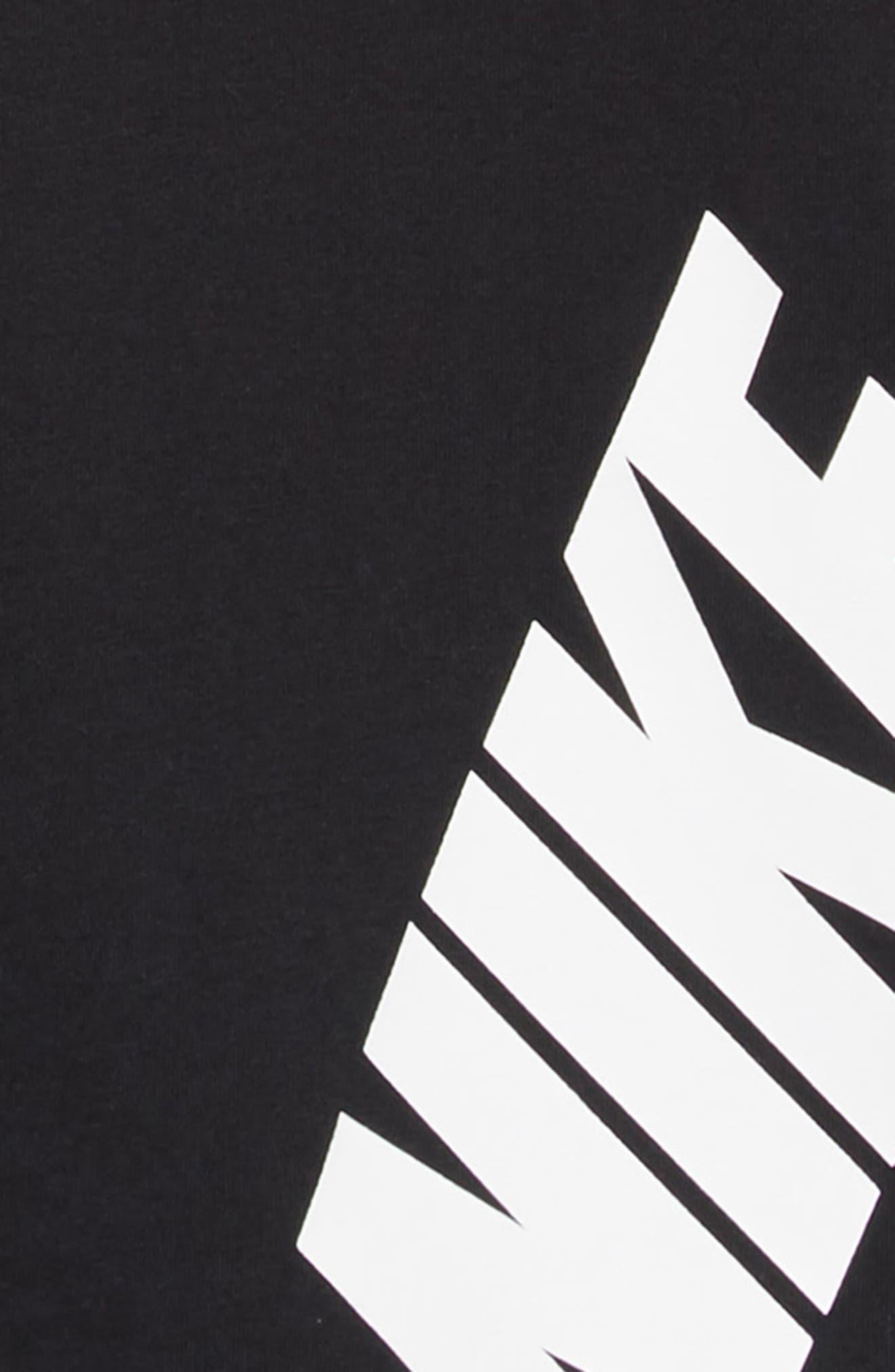 Sportswear Logo Shirtdress,                             Alternate thumbnail 3, color,                             BLACK/ WHITE