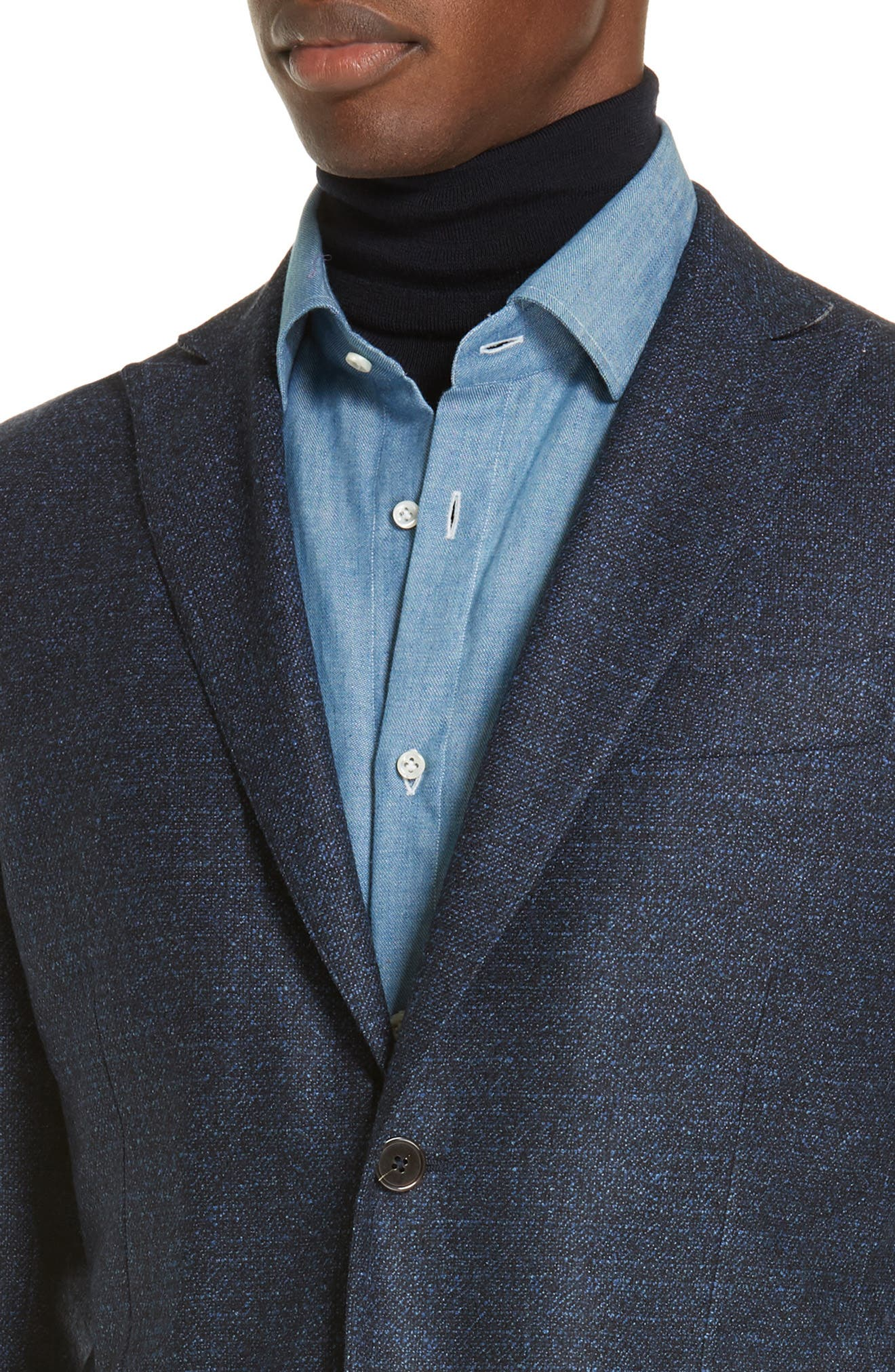 Trim Fit Tweed Wool Sport Coat,                             Alternate thumbnail 4, color,                             NAVY