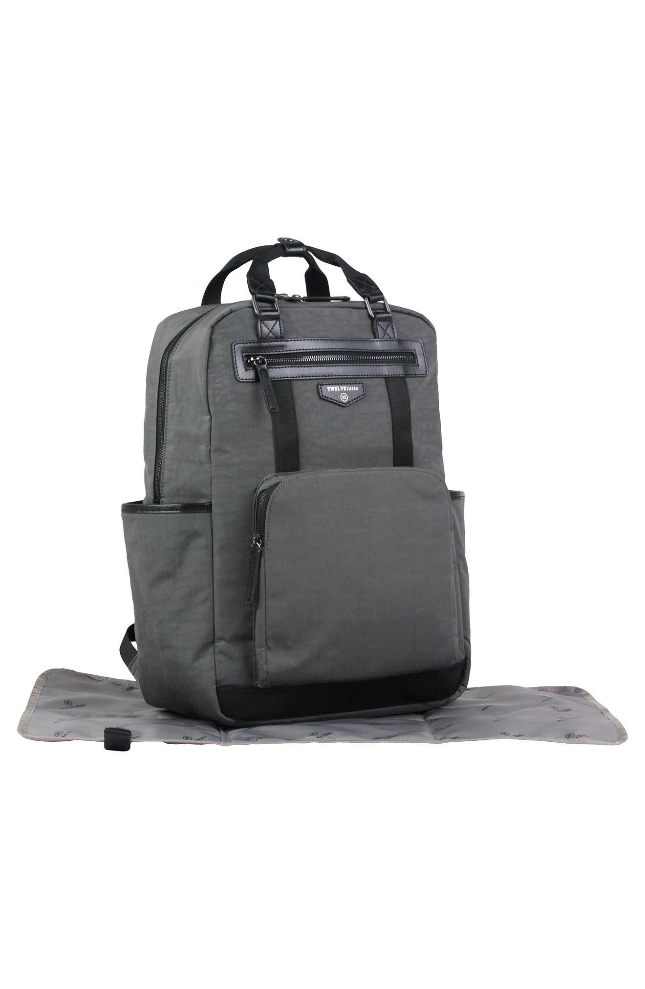 'Courage' Unisex Backpack Diaper Bag,                             Alternate thumbnail 4, color,                             DARK GREY