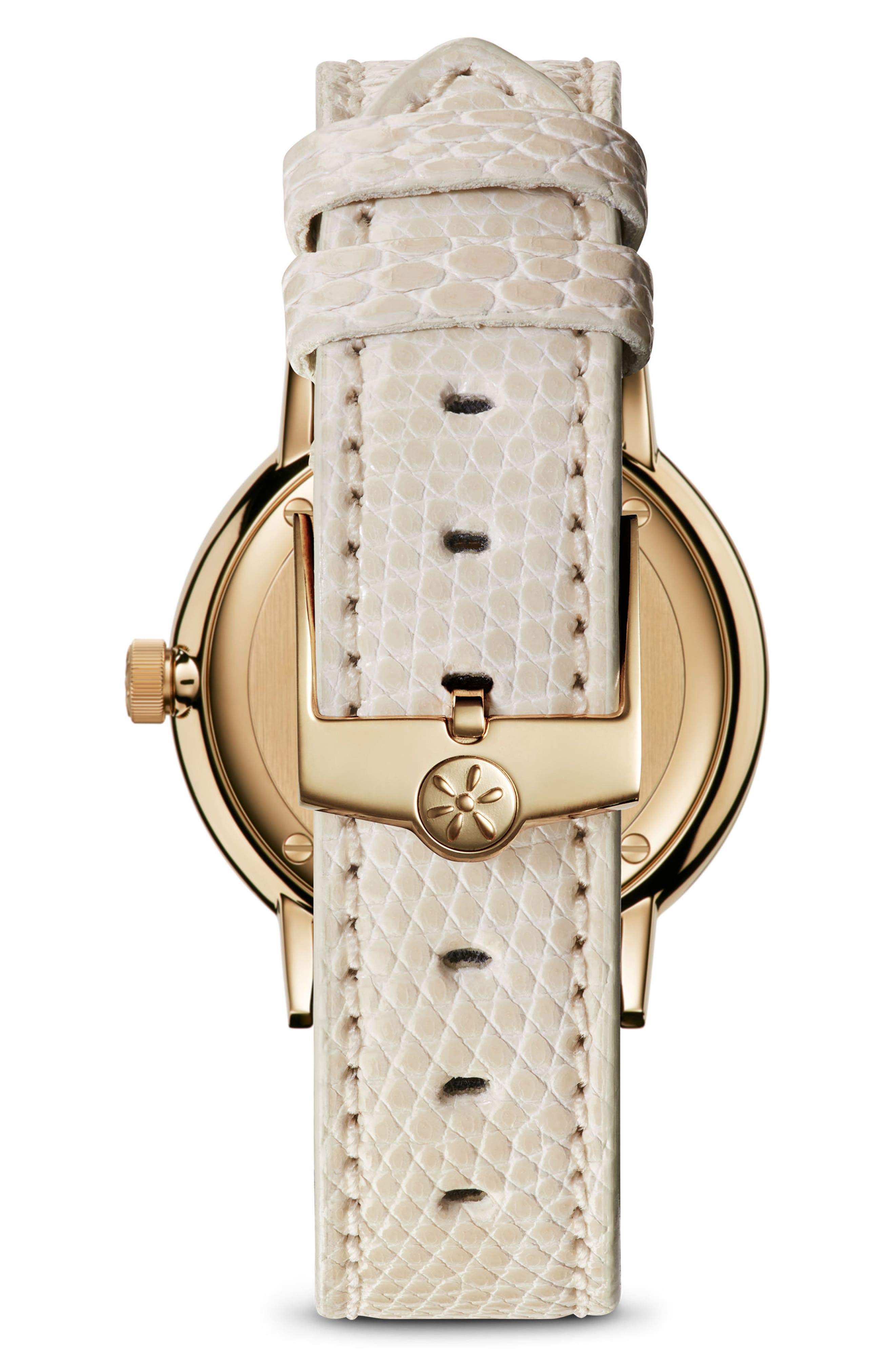 The Agnes Varis Lizard Strap Watch, 32mm,                             Alternate thumbnail 2, color,                             IVORY/ OFF WHITE/ BRASS