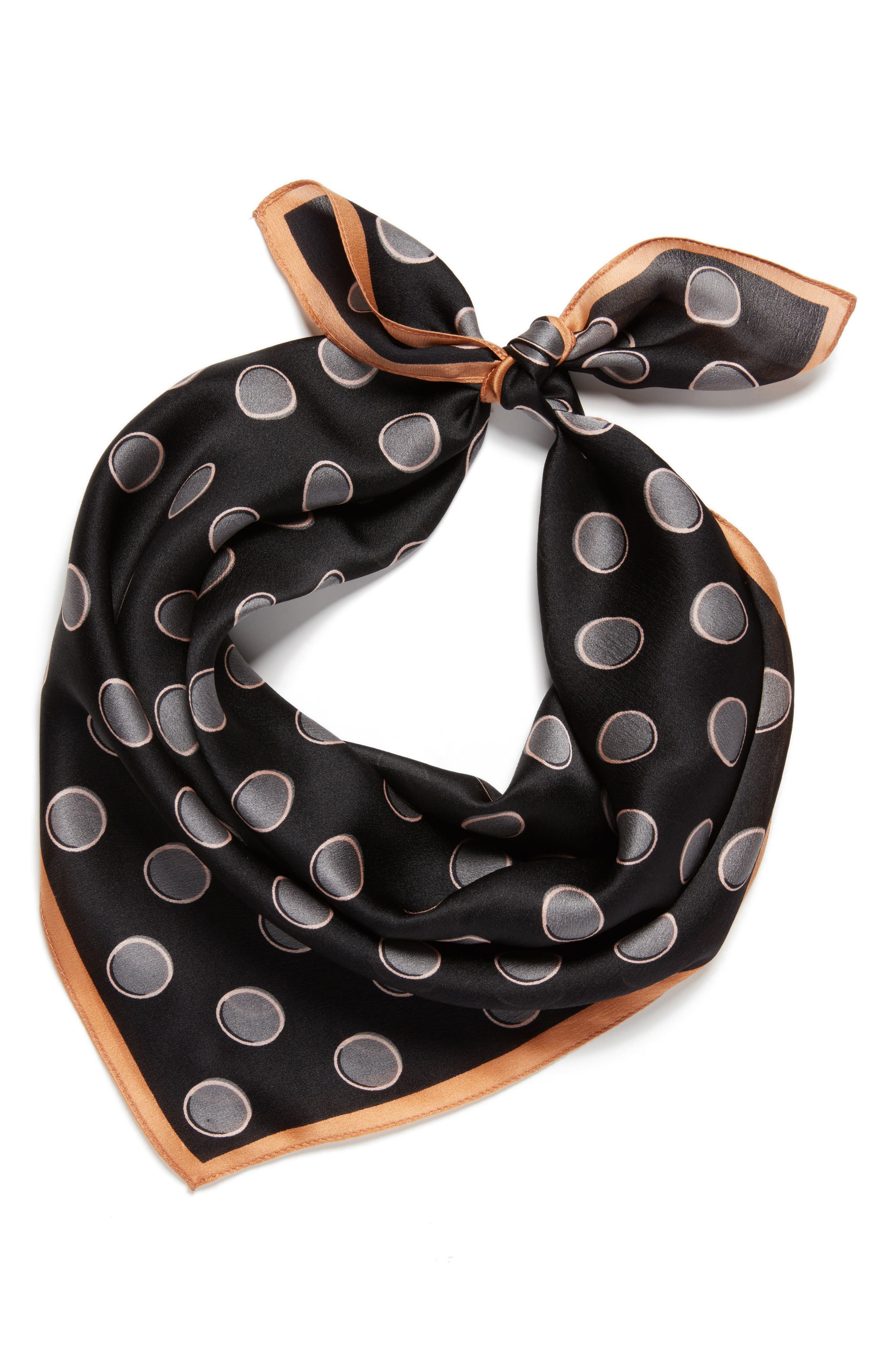 Shadow Dot Silk Square Scarf,                             Alternate thumbnail 2, color,                             001