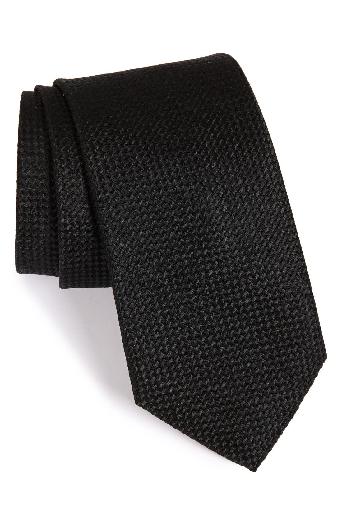 'Nate' Solid Silk Tie,                         Main,                         color, 001