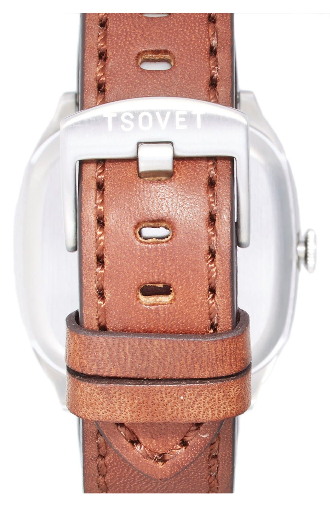 'JPT-TW35' Square Leather Strap Watch, 35mm,                             Alternate thumbnail 3, color,                             201