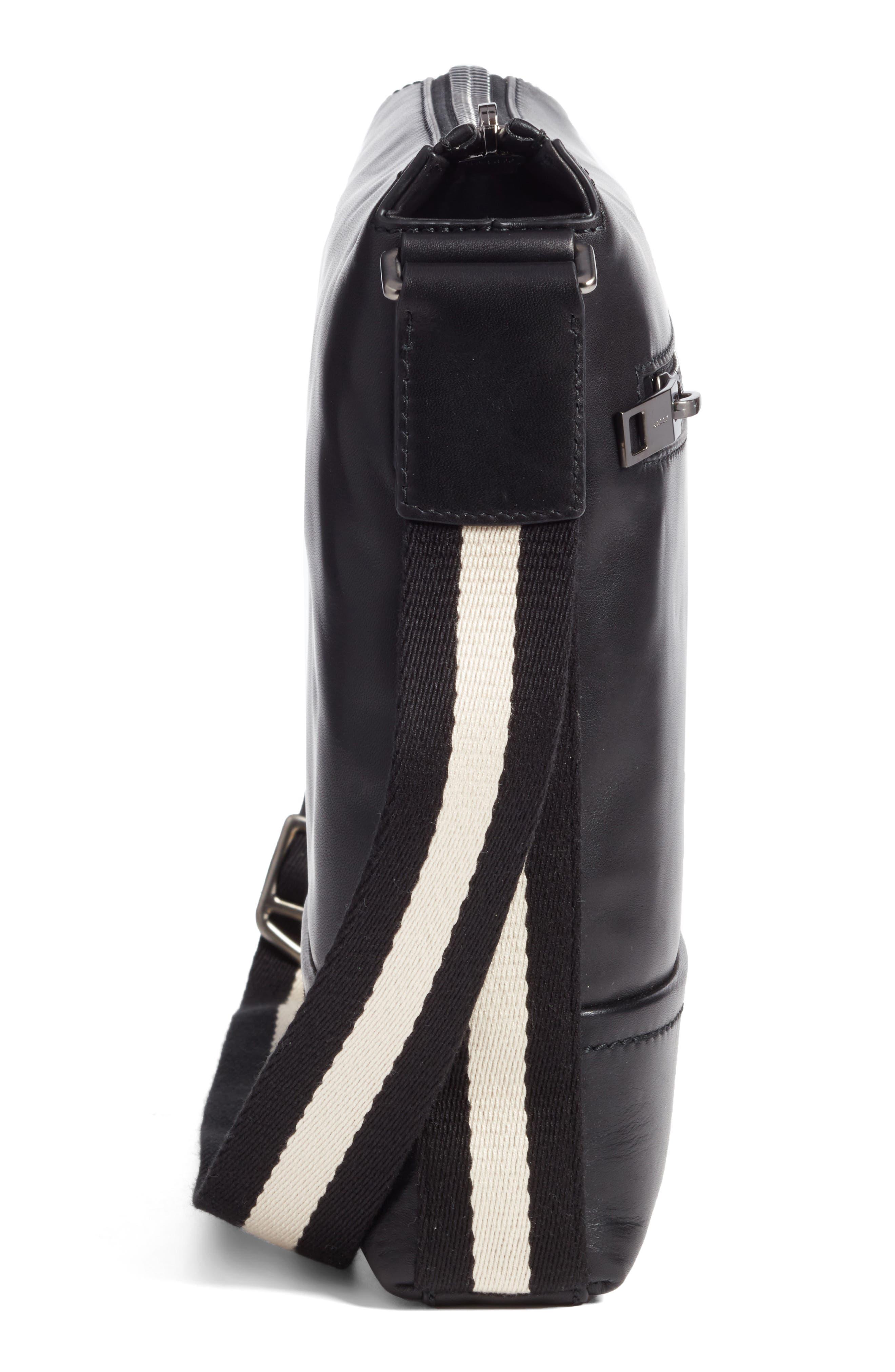 BALLY,                             Trezzini Leather Crossbody Bag,                             Alternate thumbnail 5, color,                             001
